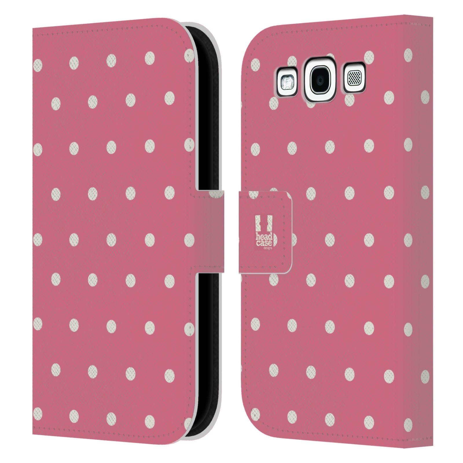 HEAD CASE Flipové pouzdro pro mobil Samsung Galaxy S3 Francouzský venkov tečky v růžové