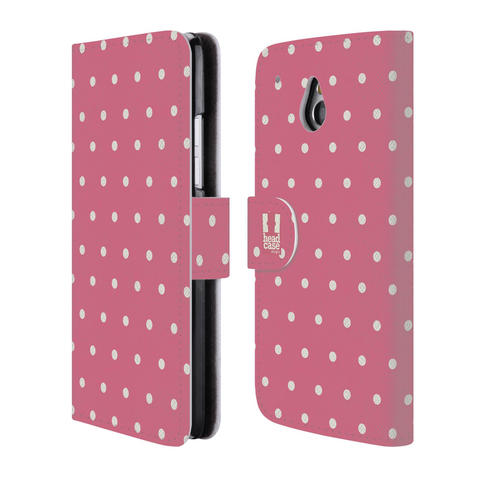 HEAD CASE Flipové pouzdro pro mobil HTC ONE MINI (M4) Francouzský venkov tečky v růžové