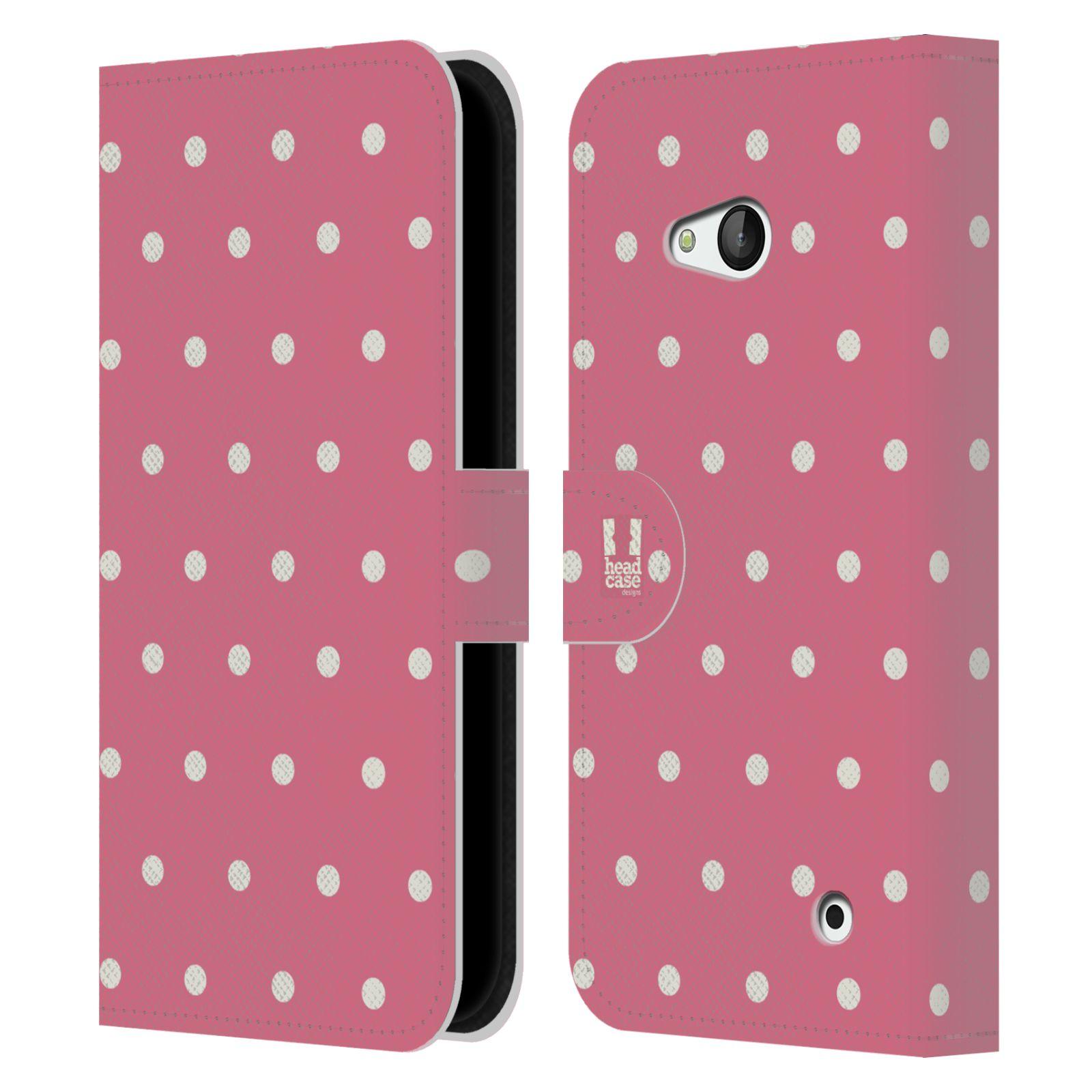 HEAD CASE Flipové pouzdro pro mobil NOKIA / MICROSOFT LUMIA 640 / LUMIA 640 DUAL Francouzský venkov tečky v růžové