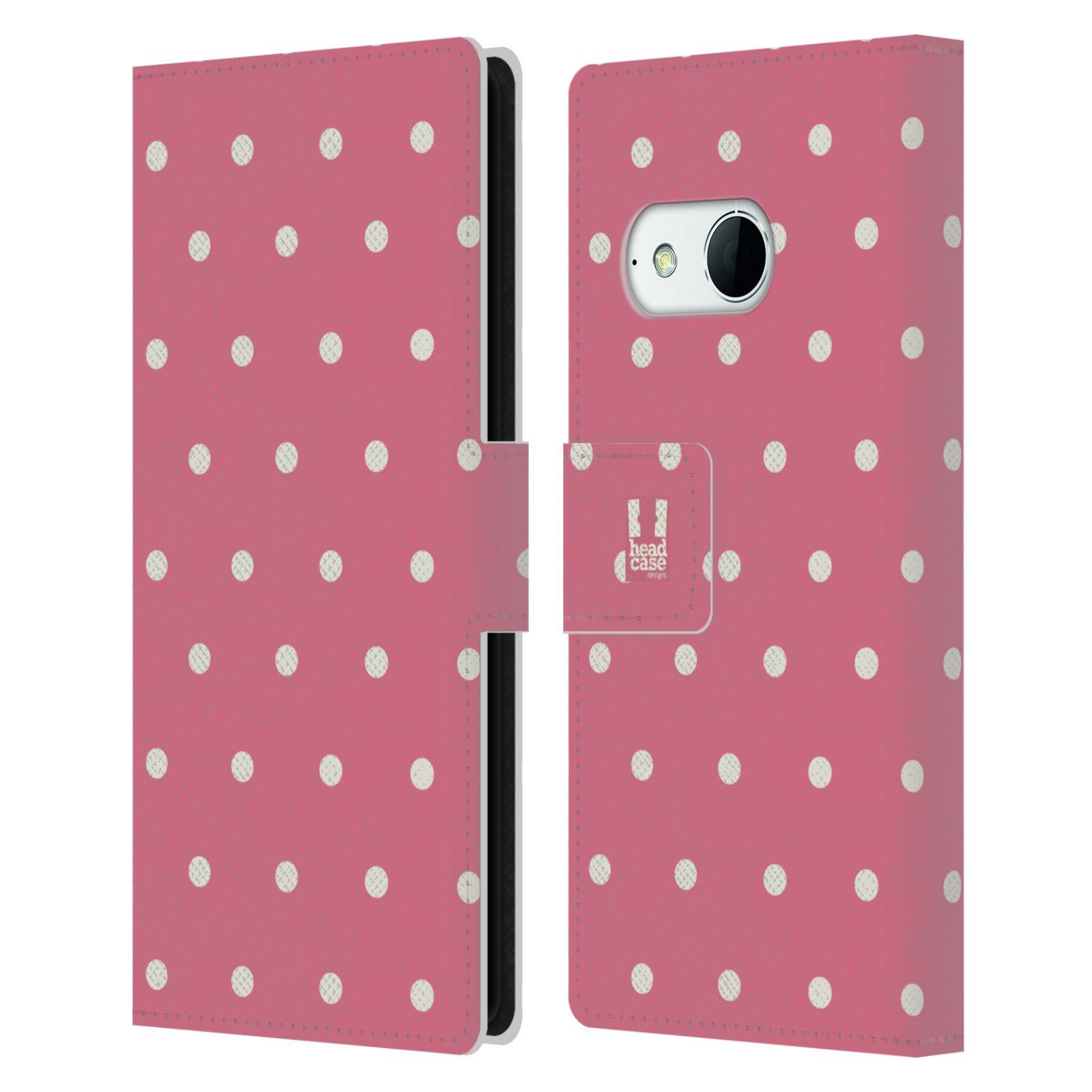 HEAD CASE Flipové pouzdro pro mobil HTC ONE MINI 2 (M8) Francouzský venkov tečky v růžové