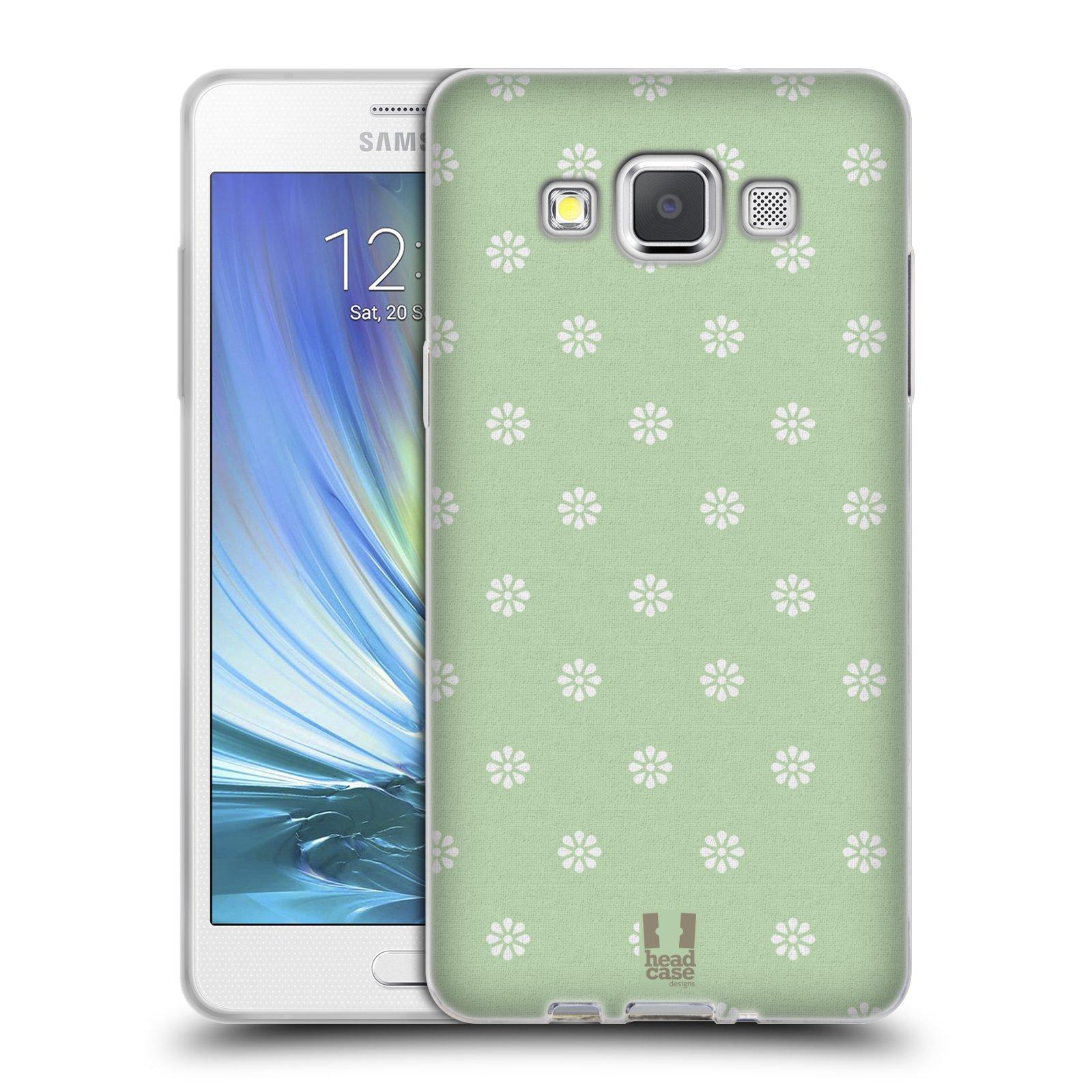 HEAD CASE silikonový obal na mobil Samsung Galaxy A5 Francouzský motiv venkov malé květinky zelené pozadí