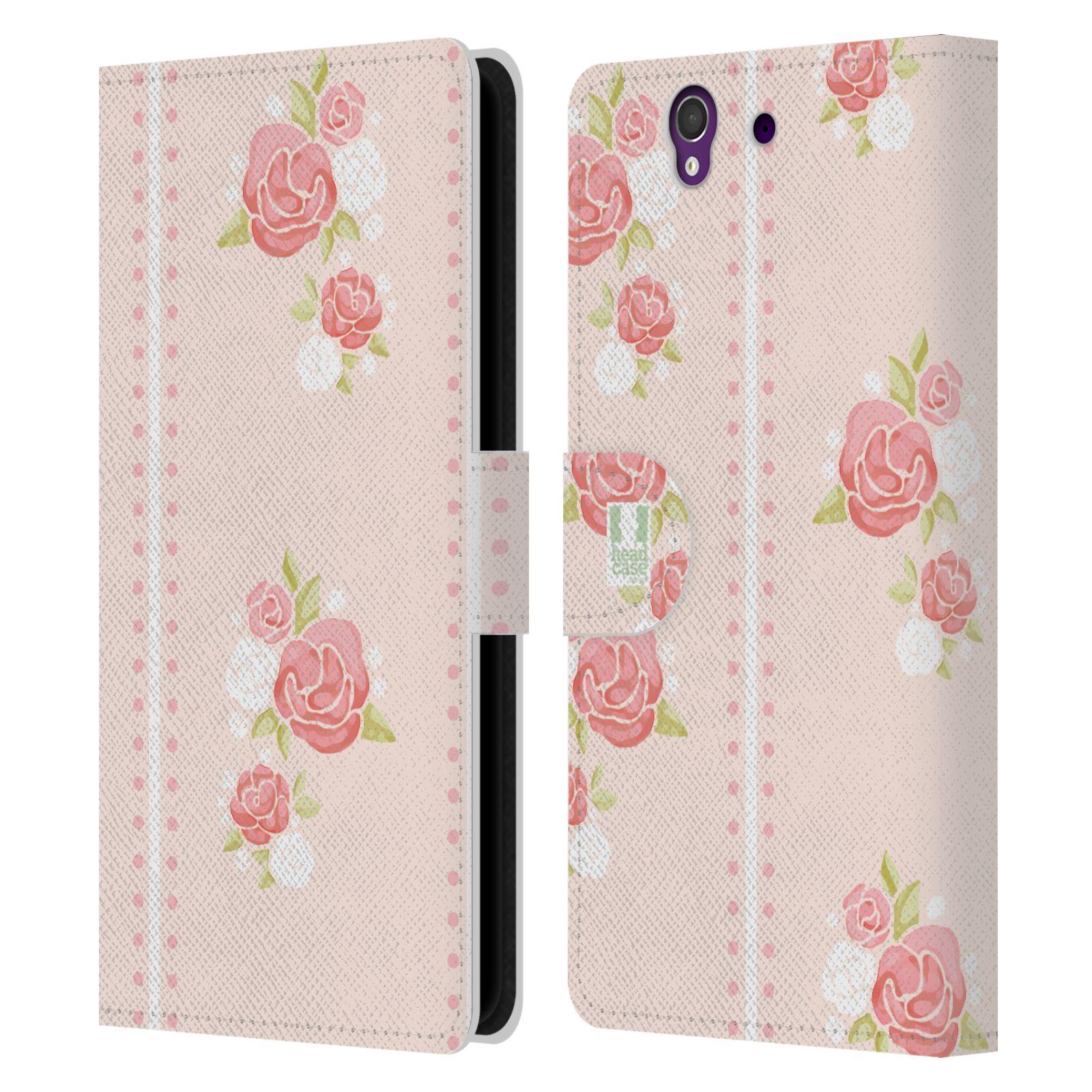 HEAD CASE Flipové pouzdro pro mobil SONY XPERIA Z (C6603) Francouzský venkov pruhy a růže růžová barva