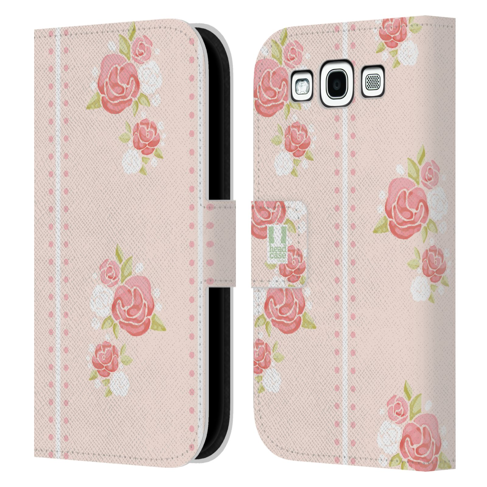 HEAD CASE Flipové pouzdro pro mobil Samsung Galaxy S3 Francouzský venkov pruhy a růže růžová barva