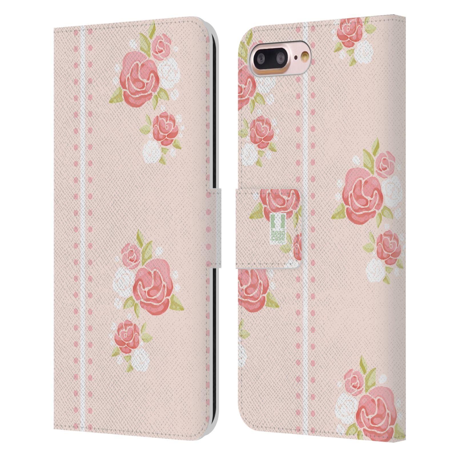 HEAD CASE Flipové pouzdro pro mobil Apple Iphone 7 PLUS / 8 PLUS Francouzský venkov pruhy a růže růžová barva