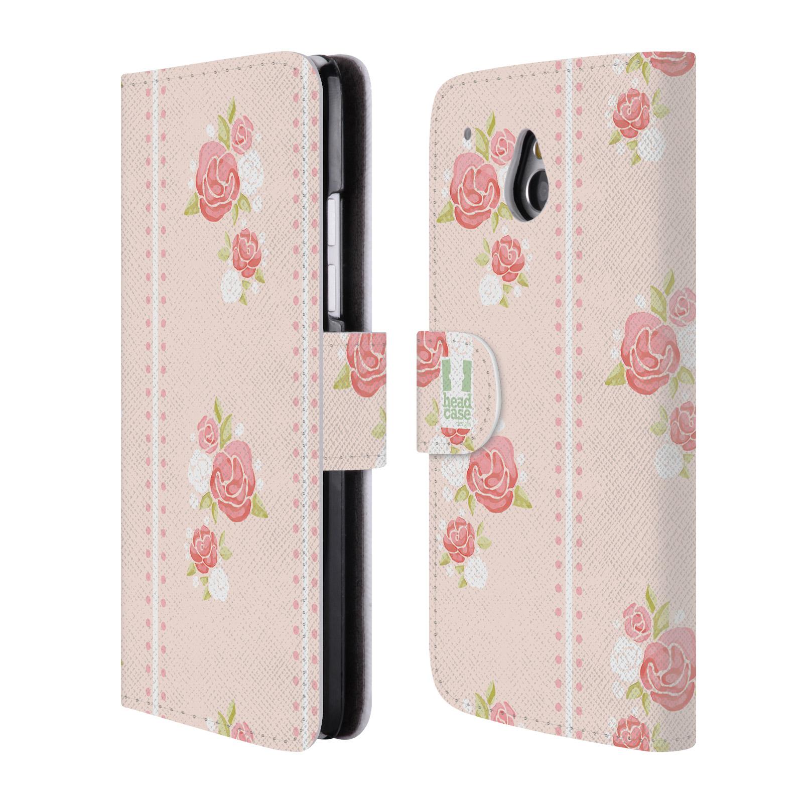 HEAD CASE Flipové pouzdro pro mobil HTC ONE MINI (M4) Francouzský venkov pruhy a růže růžová barva