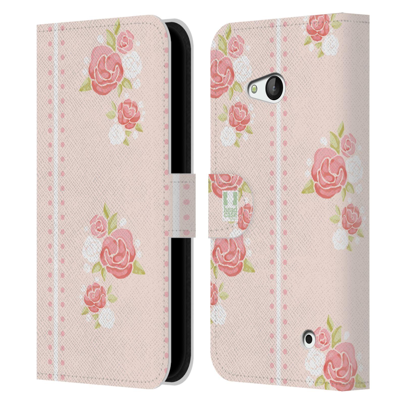 HEAD CASE Flipové pouzdro pro mobil NOKIA / MICROSOFT LUMIA 640 / LUMIA 640 DUAL Francouzský venkov pruhy a růže růžová barva