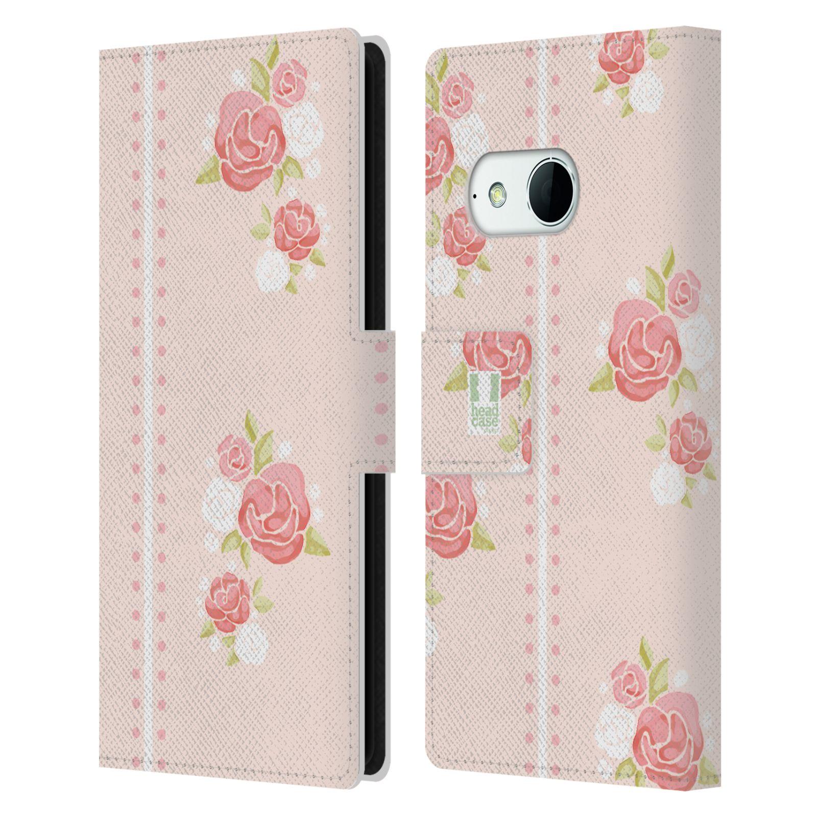 HEAD CASE Flipové pouzdro pro mobil HTC ONE MINI 2 (M8) Francouzský venkov pruhy a růže růžová barva
