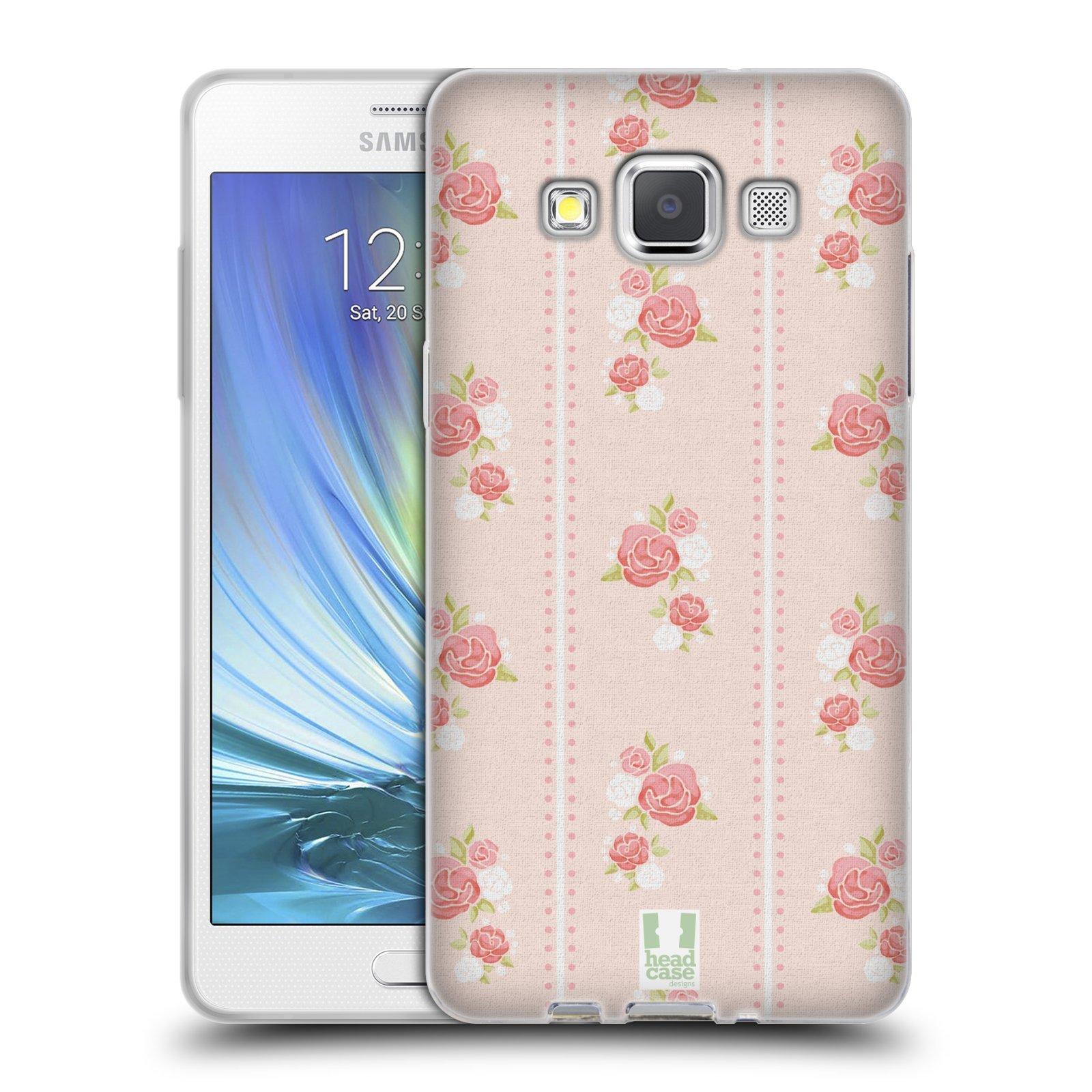 HEAD CASE silikonový obal na mobil Samsung Galaxy A5 Francouzský motiv venkov proužky a růže