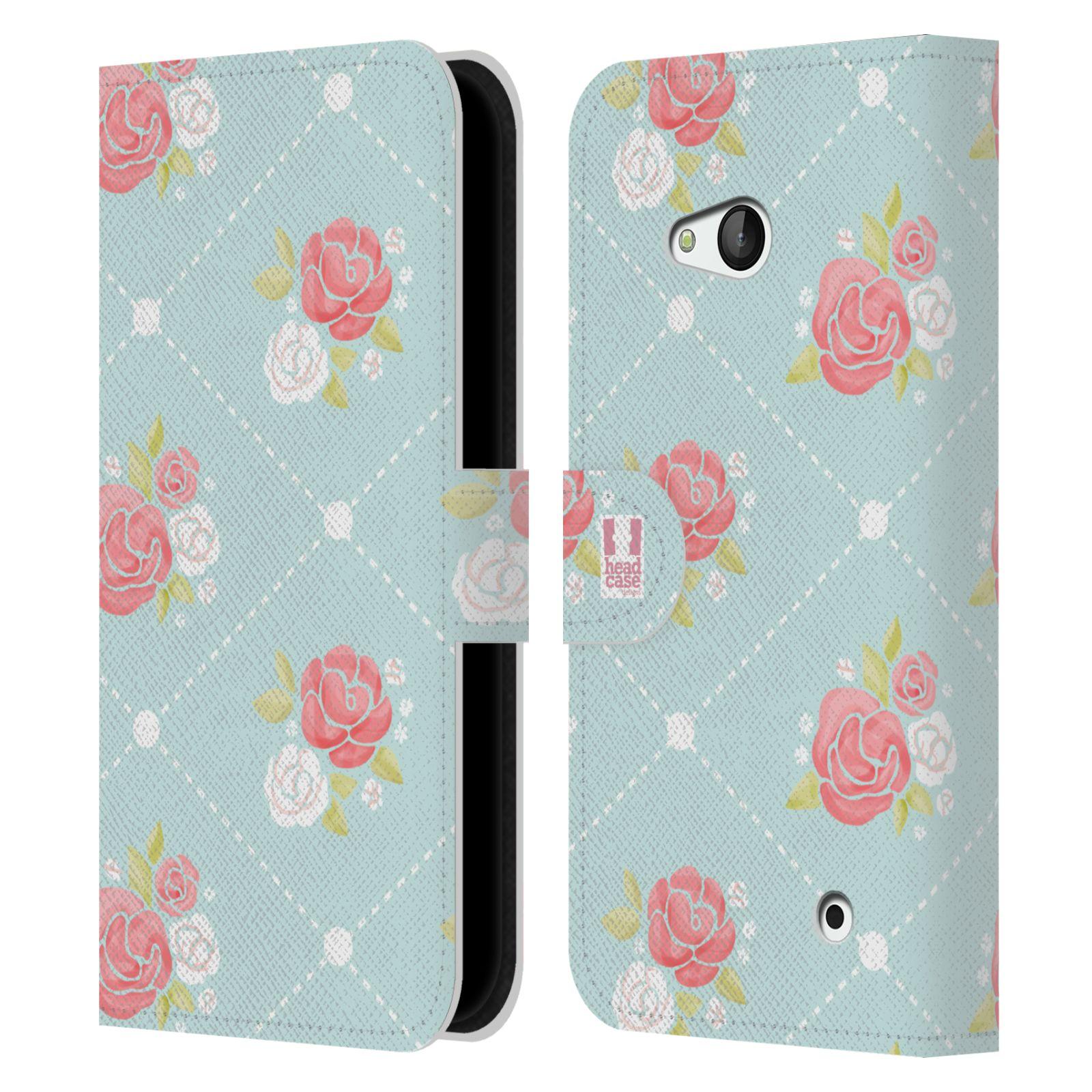 HEAD CASE Flipové pouzdro pro mobil NOKIA / MICROSOFT LUMIA 640 / LUMIA 640 DUAL Francouzský venkov malé růže modrá