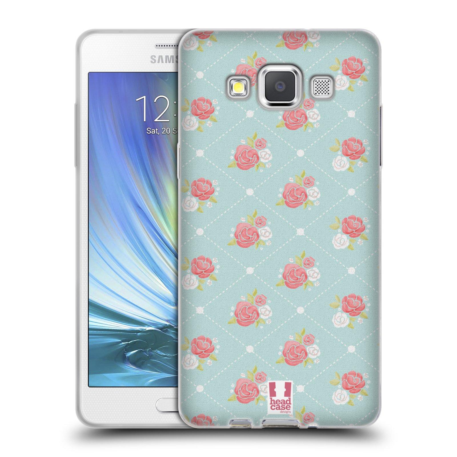 HEAD CASE silikonový obal na mobil Samsung Galaxy A5 Francouzský motiv venkov malé růže modré pozadí
