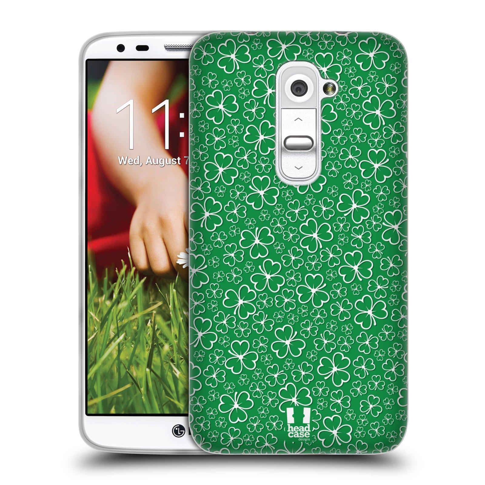 HEAD CASE silikonový obal na mobil LG G2 vzor Kreslený čyřlístek zelená HROMADA