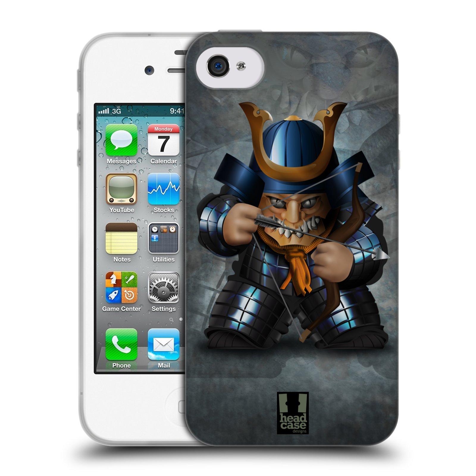 HEAD CASE silikonový obal na mobil Apple Iphone 4/4S vzor Malí bojovníci SHOGUN STŘELEC
