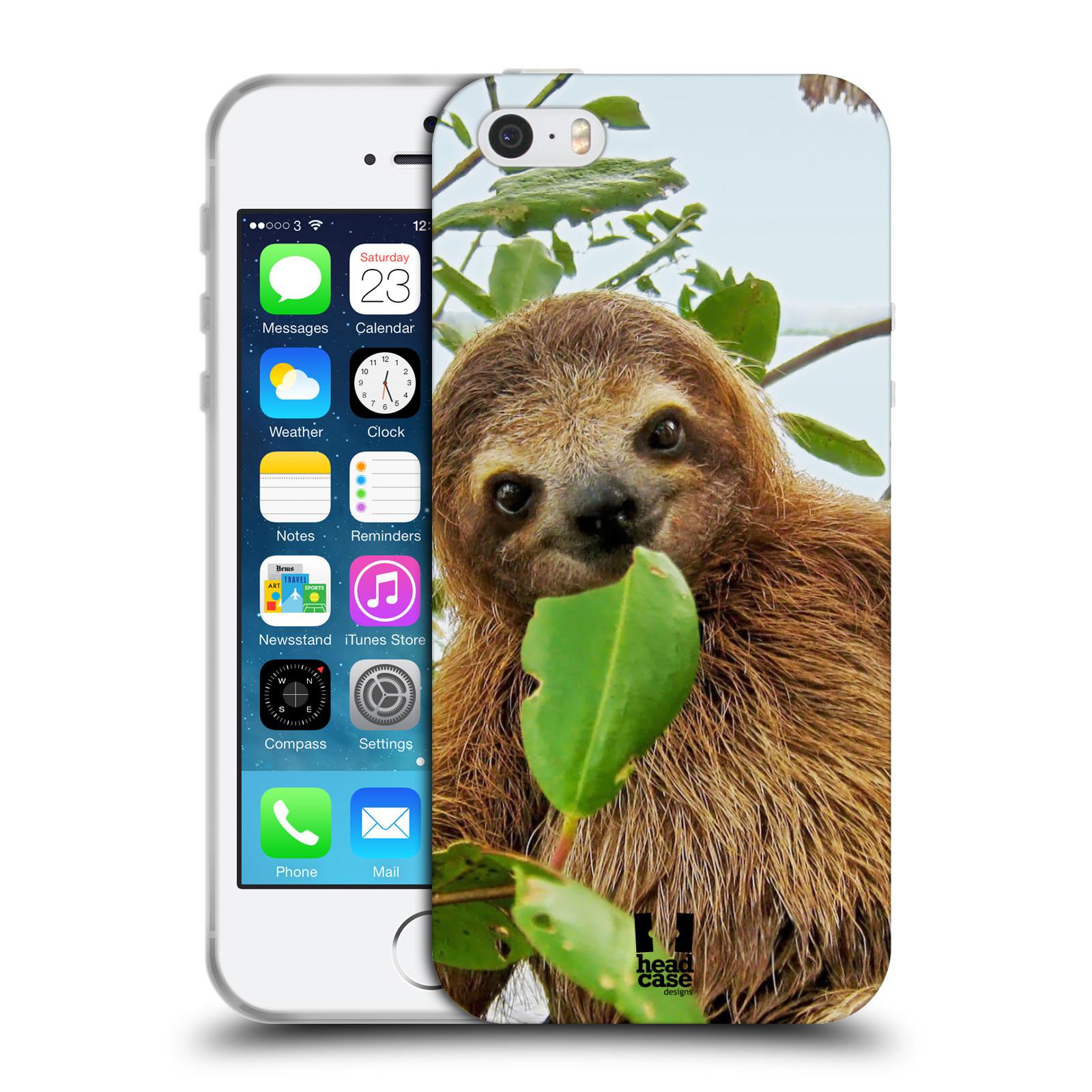 HEAD CASE silikonový obal na mobil Apple Iphone 5/5S vzor slavná zvířata foto lenochod