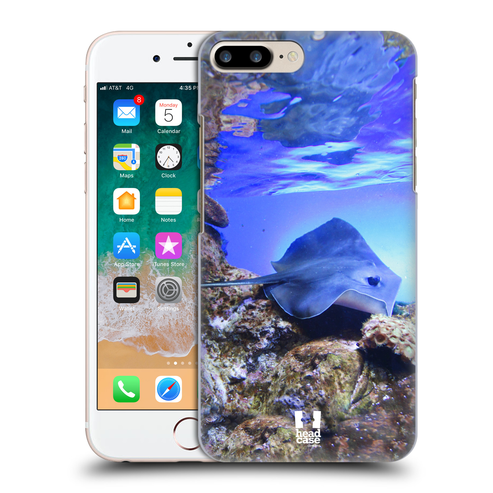 HEAD CASE plastový obal na mobil Apple Iphone 7 PLUS vzor slavná zvířata foto rejnok