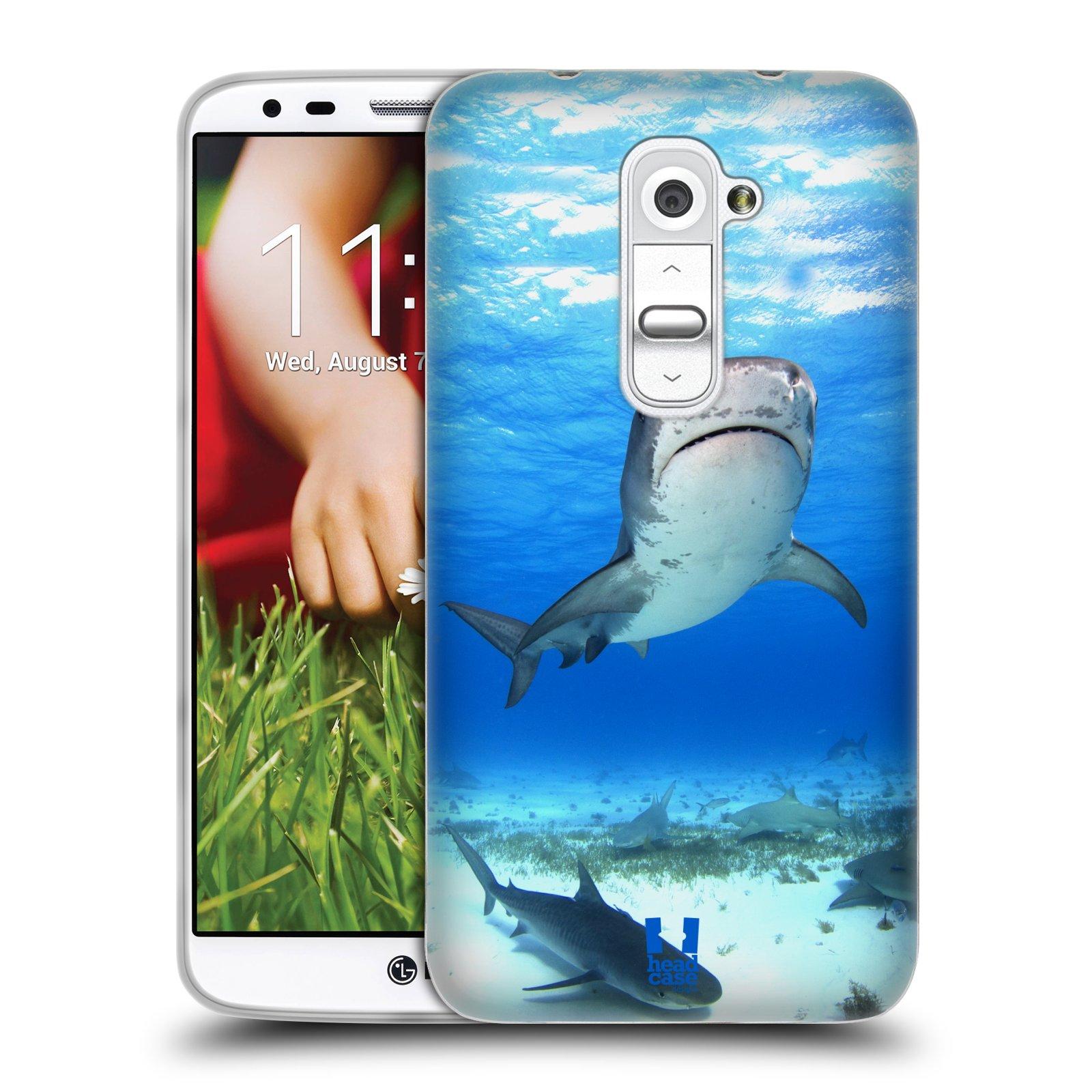 HEAD CASE silikonový obal na mobil LG G2 vzor slavná zvířata foto žralok tygří