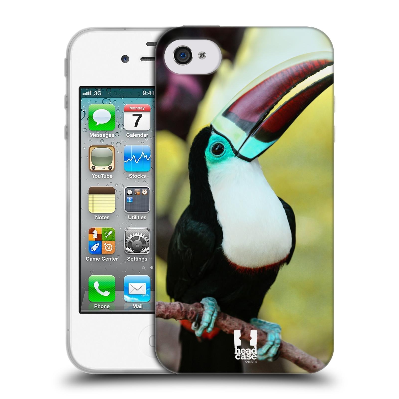 HEAD CASE silikonový obal na mobil Apple Iphone 4/4S vzor slavná zvířata foto tukan