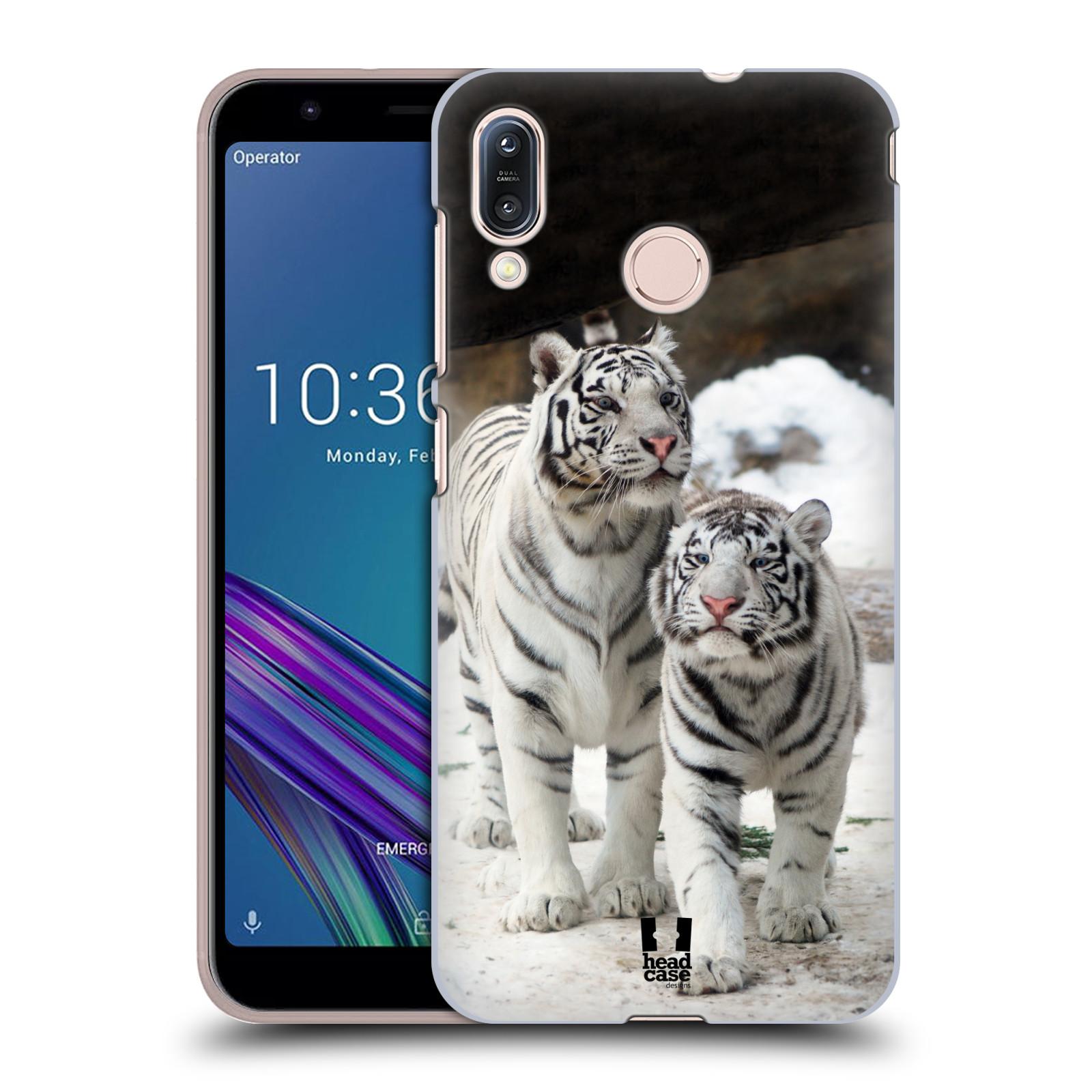 Pouzdro na mobil Asus Zenfone Max M1 (ZB555KL) - HEAD CASE - vzor slavná zvířata foto dva bílí tygři