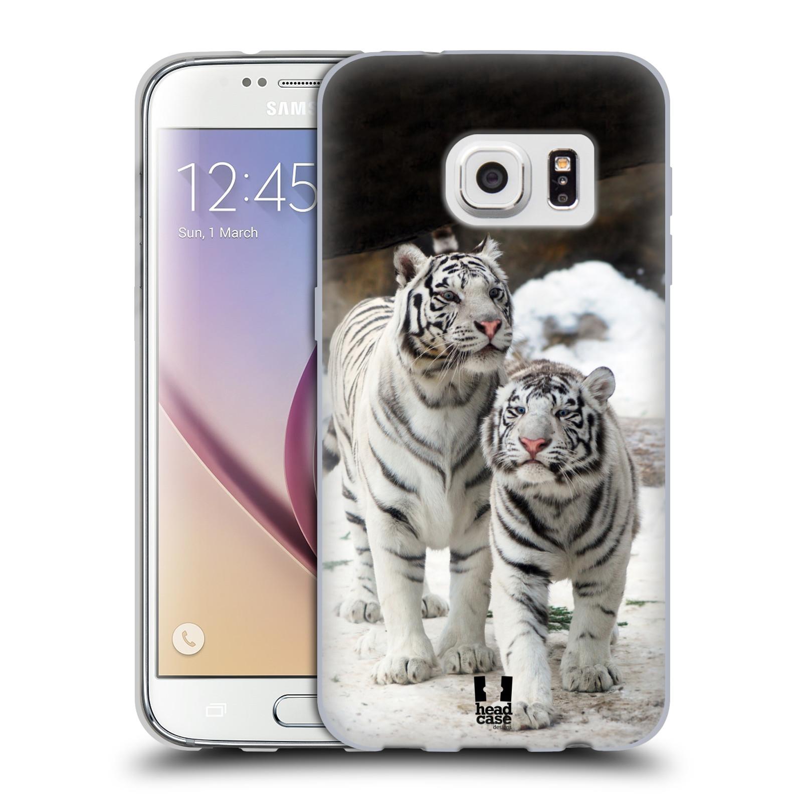 HEAD CASE silikonový obal na mobil Samsung Galaxy S7 vzor slavná zvířata foto dva bílí tygři
