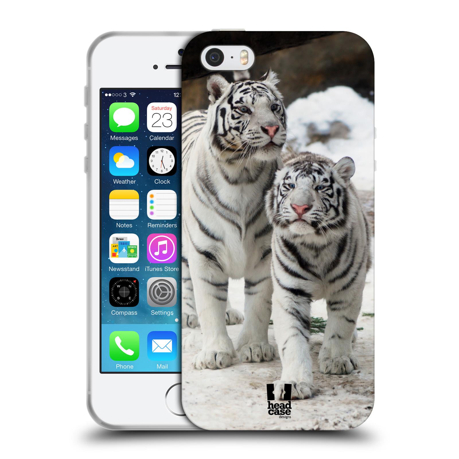 HEAD CASE silikonový obal na mobil Apple Iphone 5/5S vzor slavná zvířata foto dva bílí tygři