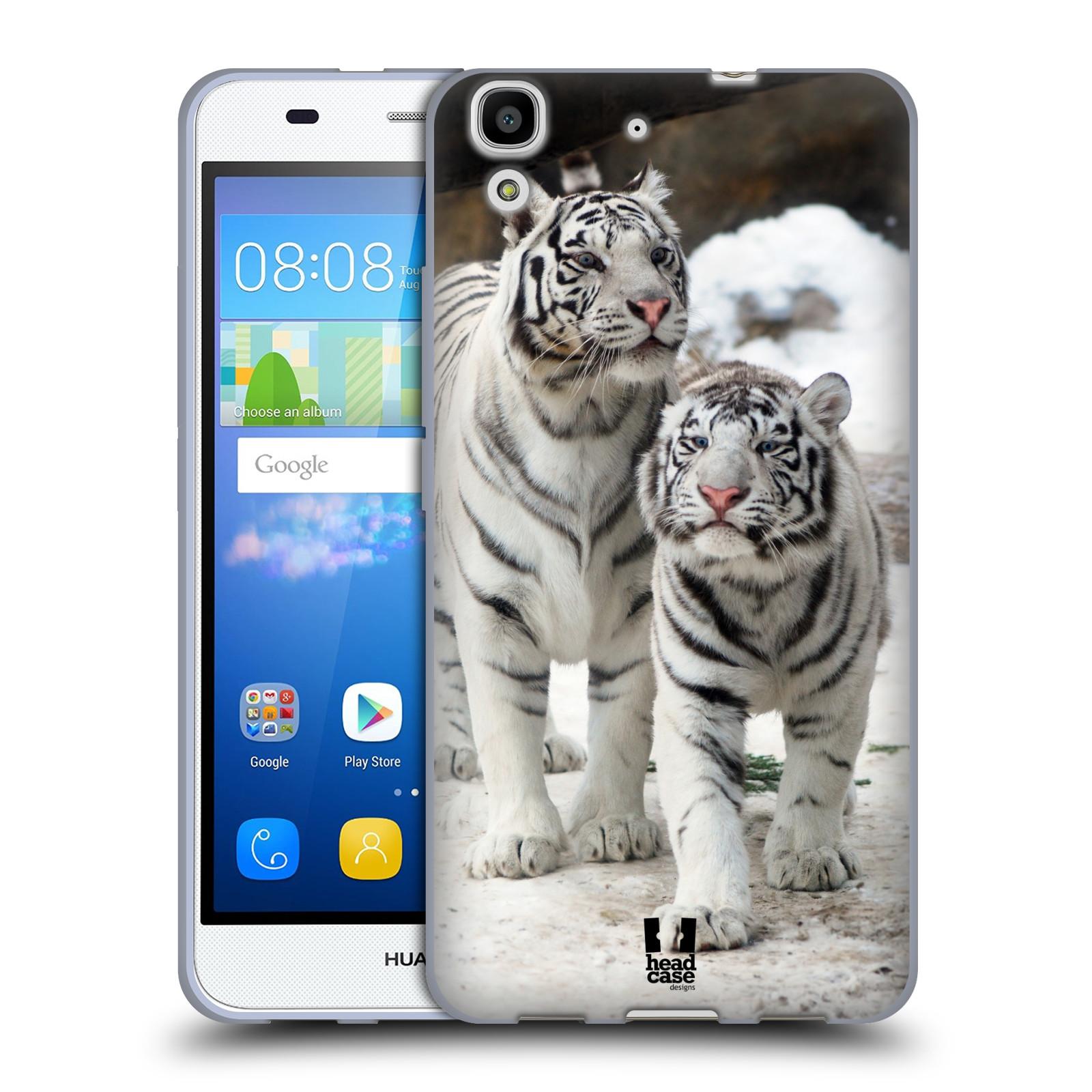 HEAD CASE silikonový obal na mobil HUAWEI Y6 vzor slavná zvířata foto dva bílí tygři