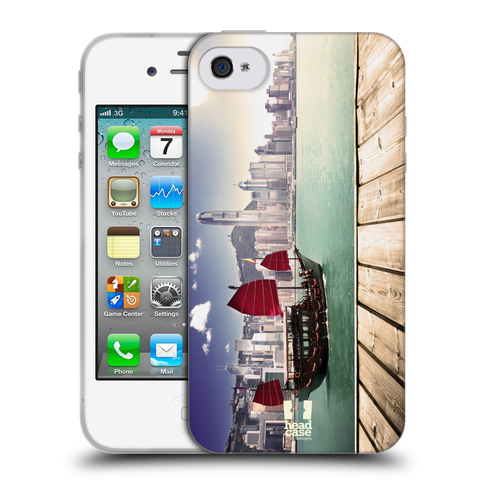 HEAD CASE silikonový obal na mobil Apple Iphone 4/4S vzor Města foto náměstí ČÍNA, HONG KONG, PŘÍSTAV