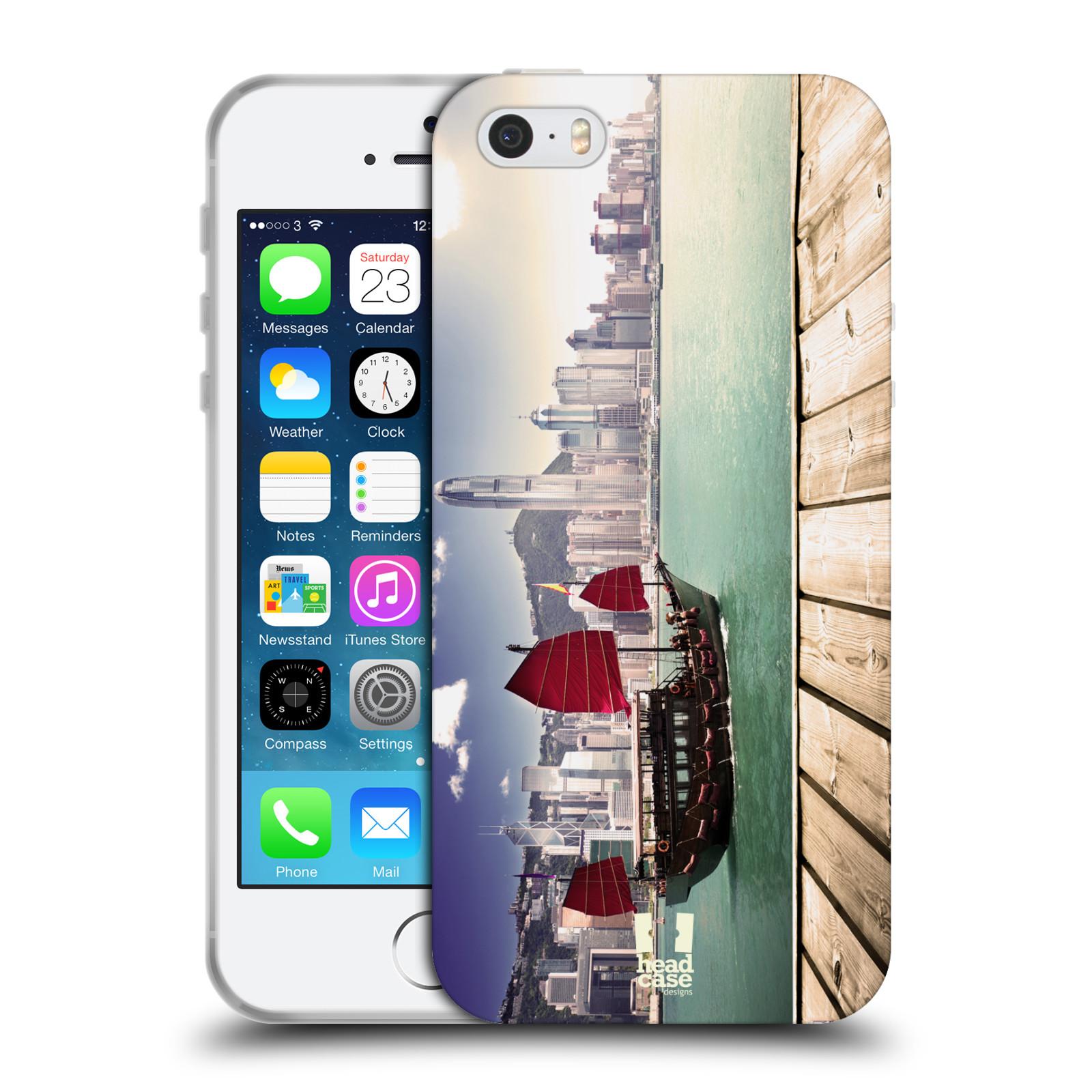 HEAD CASE silikonový obal na mobil Apple Iphone 5/5S vzor Města foto náměstí ČÍNA, HONG KONG, PŘÍSTAV