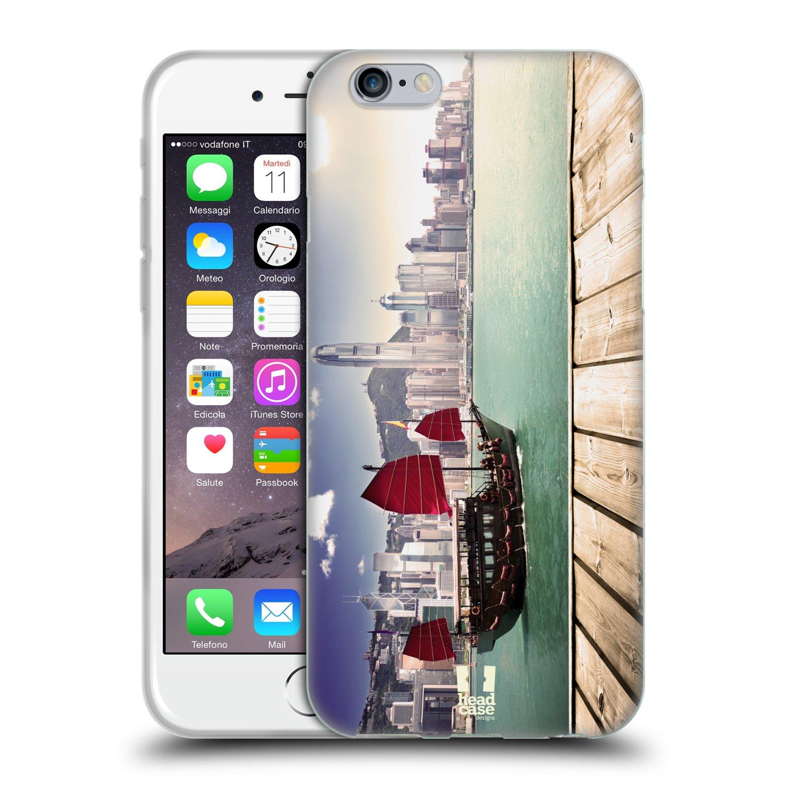 HEAD CASE silikonový obal na mobil Apple Iphone 6/6S vzor Města foto náměstí ČÍNA, HONG KONG, PŘÍSTAV