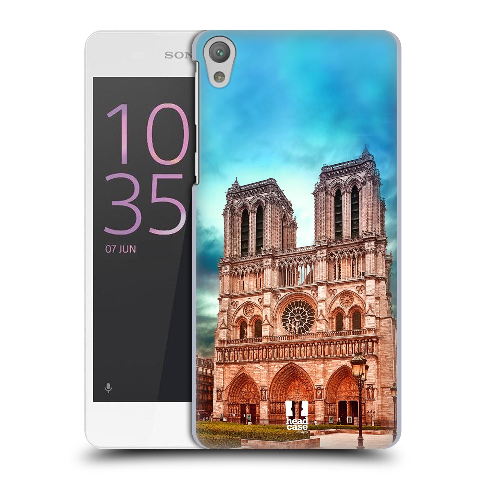 Pouzdro na mobil Sony Xperia E5 - HEAD CASE - historická místa katedrála Notre Dame
