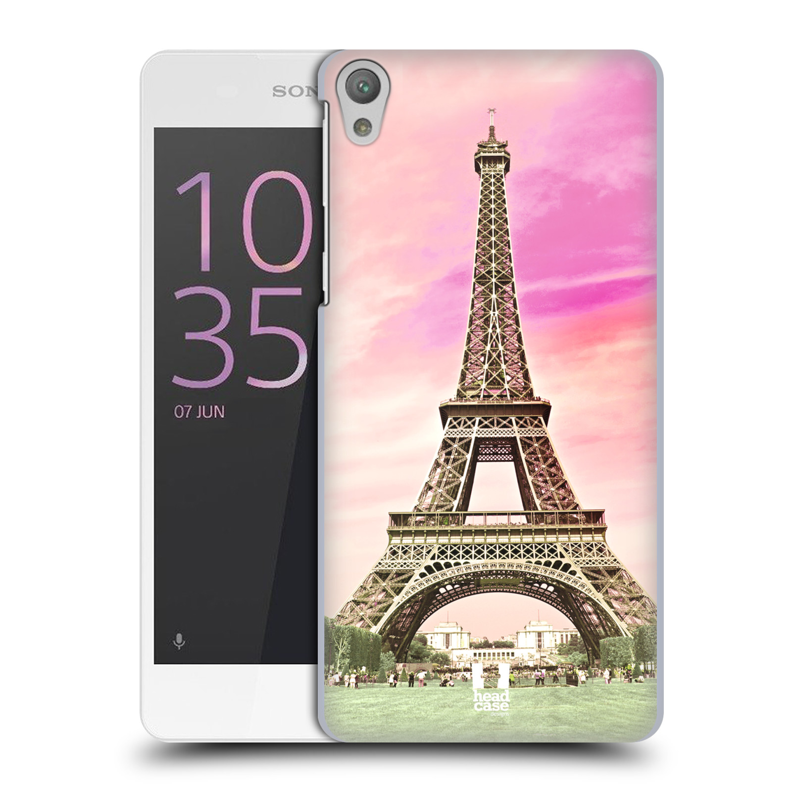 Pouzdro na mobil Sony Xperia E5 - HEAD CASE - historická místa Eiffelova věž Paříž