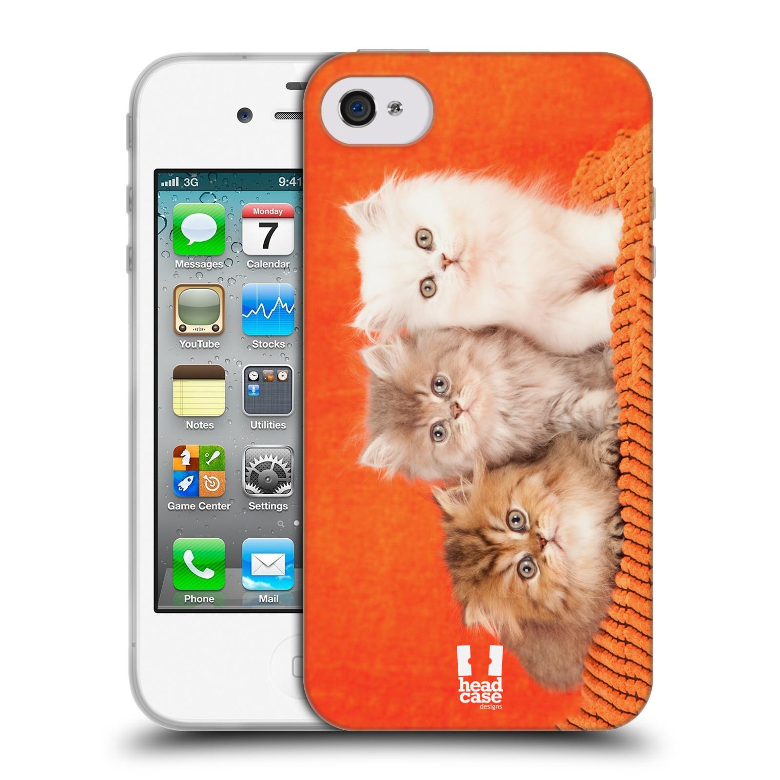HEAD CASE silikonový obal na mobil Apple Iphone 4/4S vzor Kočičky koťata foto 3 kočky