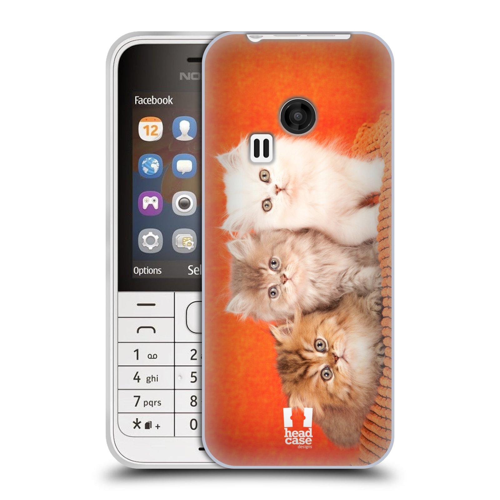 HEAD CASE silikonový obal na mobil NOKIA 220 / NOKIA 220 DUAL SIM vzor Kočičky koťata foto 3 kočky
