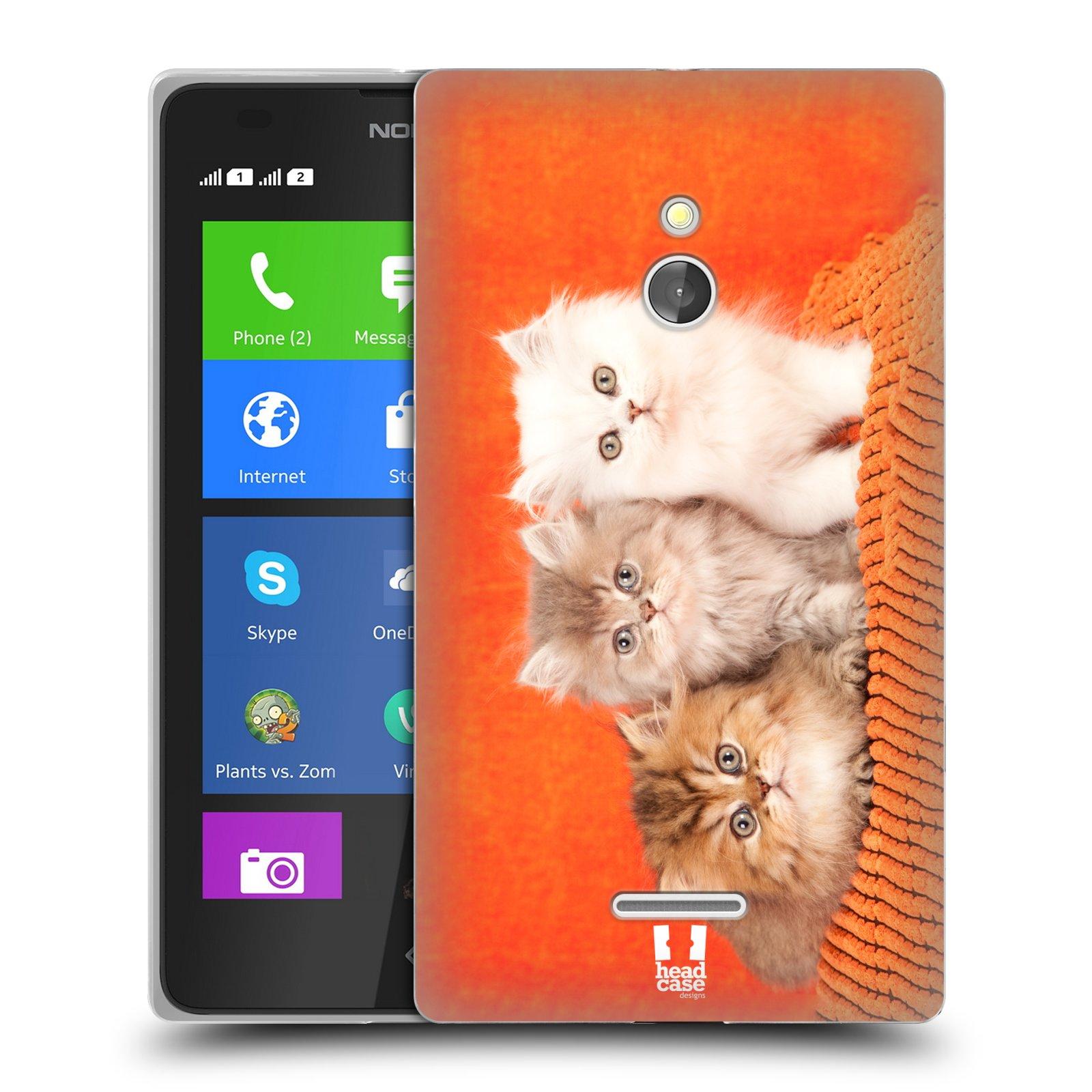 HEAD CASE silikonový obal na mobil NOKIA XL / NOKIA XL DUAL SIM vzor Kočičky koťata foto 3 kočky