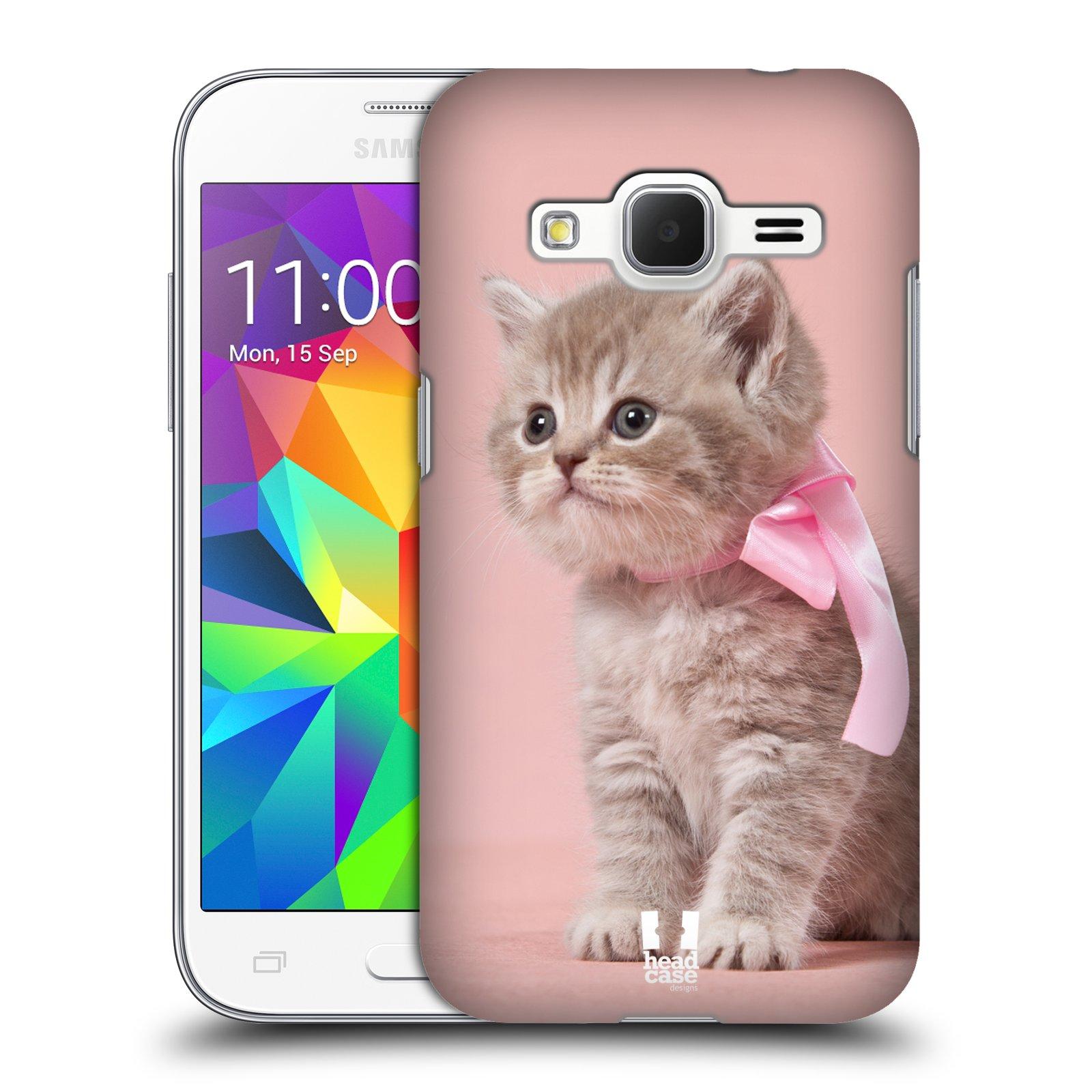 HEAD CASE plastový obal na mobil SAMSUNG GALAXY Core Prime (Core Prime VE) vzor Kočičky koťata foto kotě s růžovou mašlí