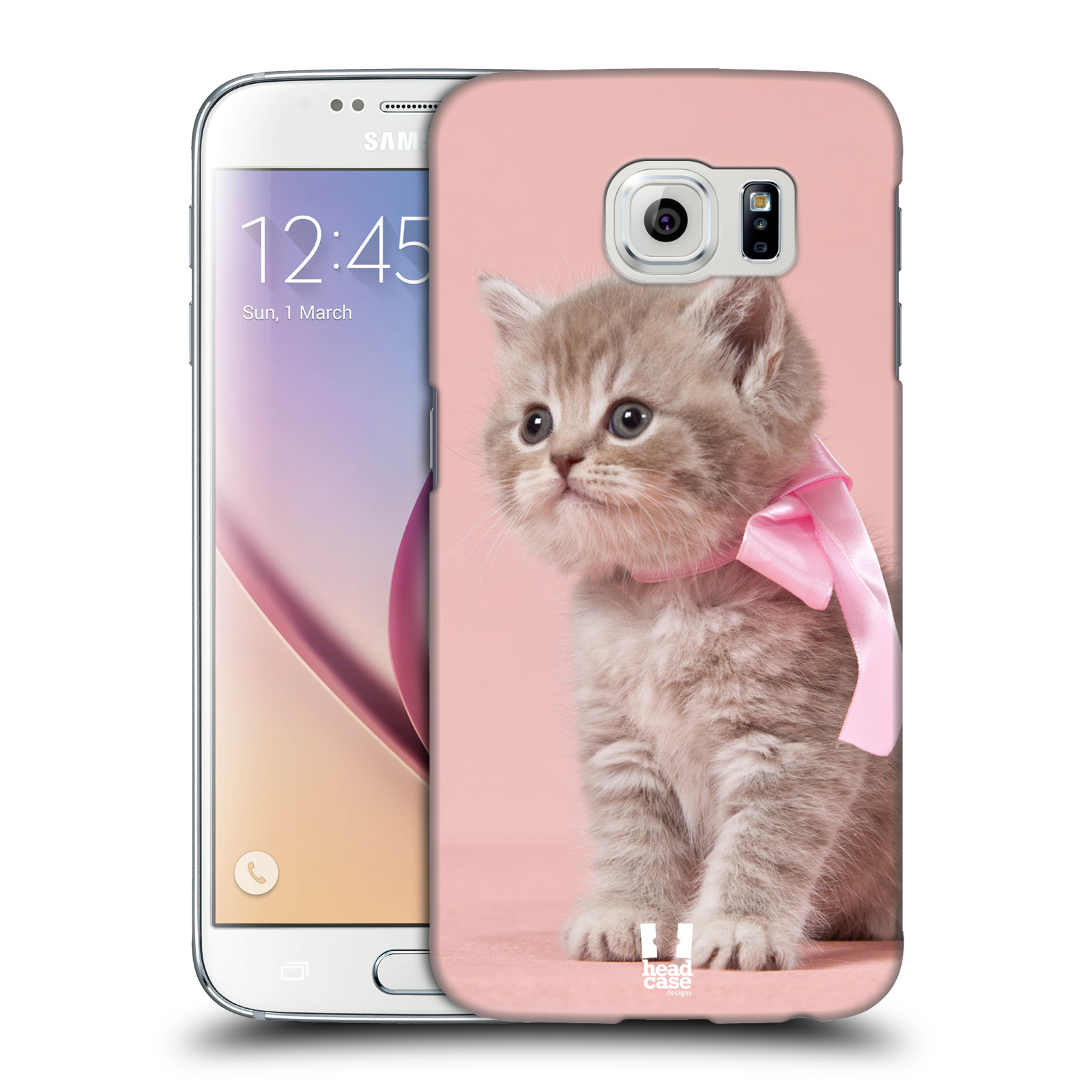 HEAD CASE plastový obal na mobil SAMSUNG Galaxy S6 (G9200, G920F) vzor Kočičky koťata foto kotě s růžovou mašlí