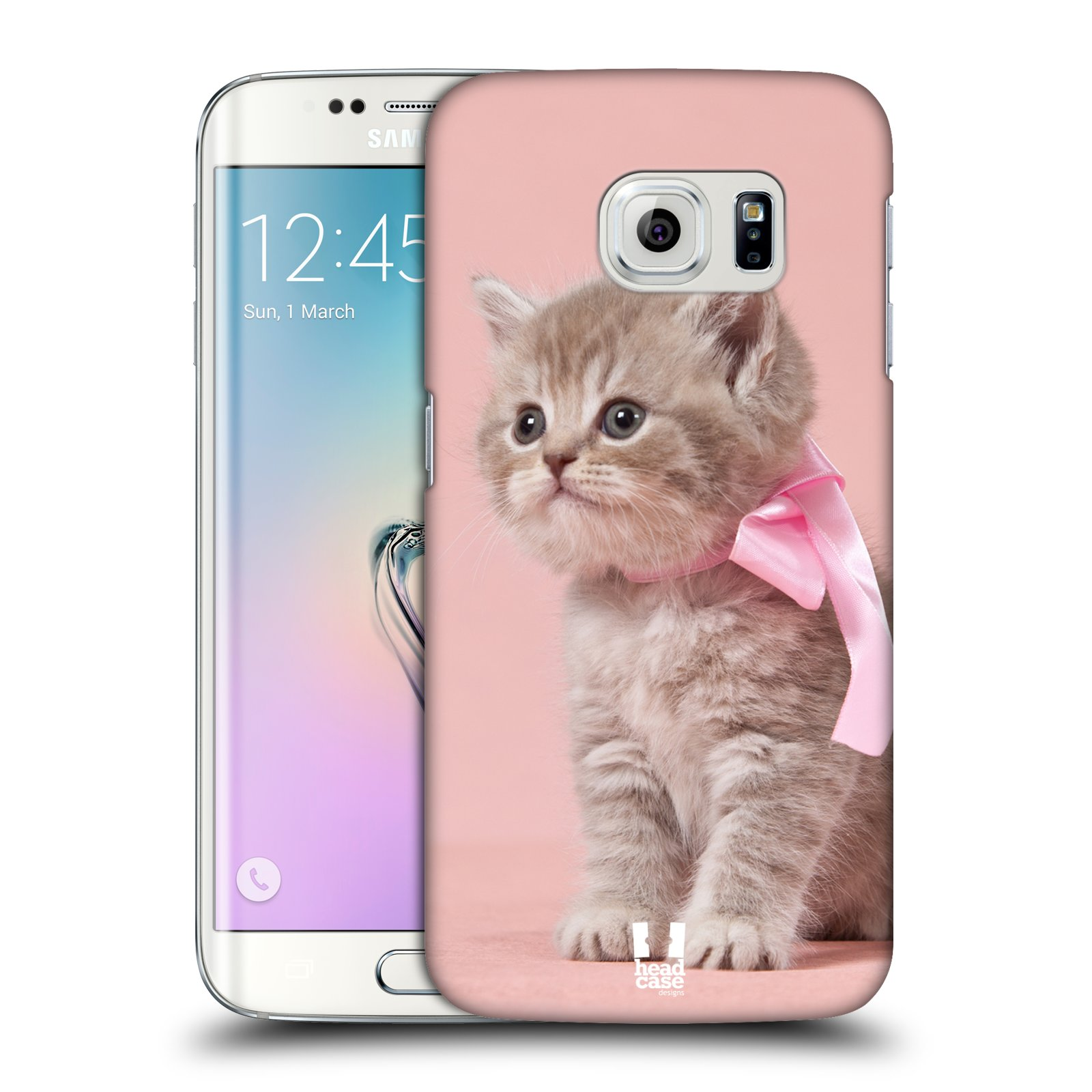 HEAD CASE plastový obal na mobil SAMSUNG Galaxy S6 EDGE (G9250, G925, G925F) vzor Kočičky koťata foto kotě s růžovou mašlí