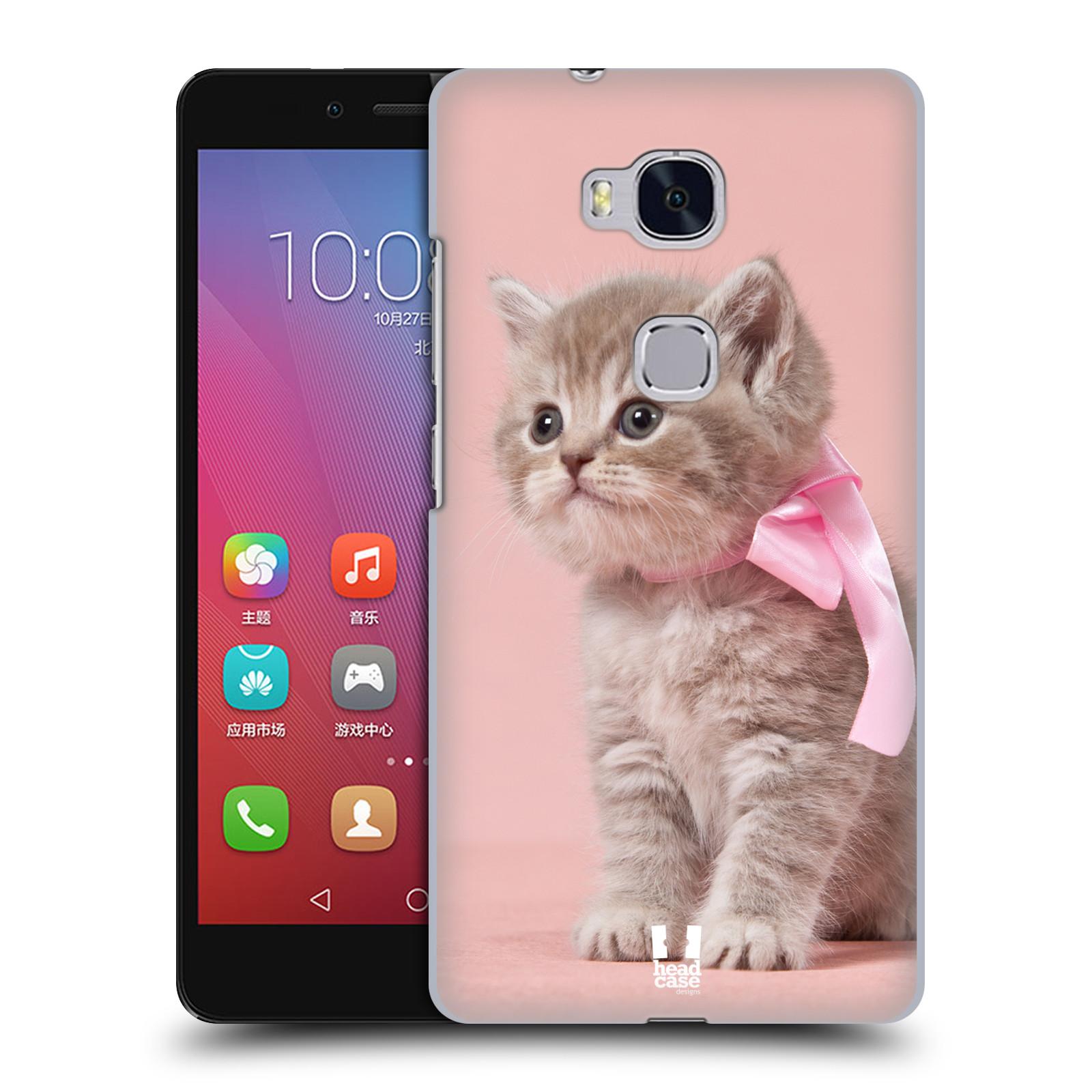 HEAD CASE pevný plastový obal na mobil HUAWEI HONOR 5X vzor Kočičky koťata foto kotě s růžovou mašlí