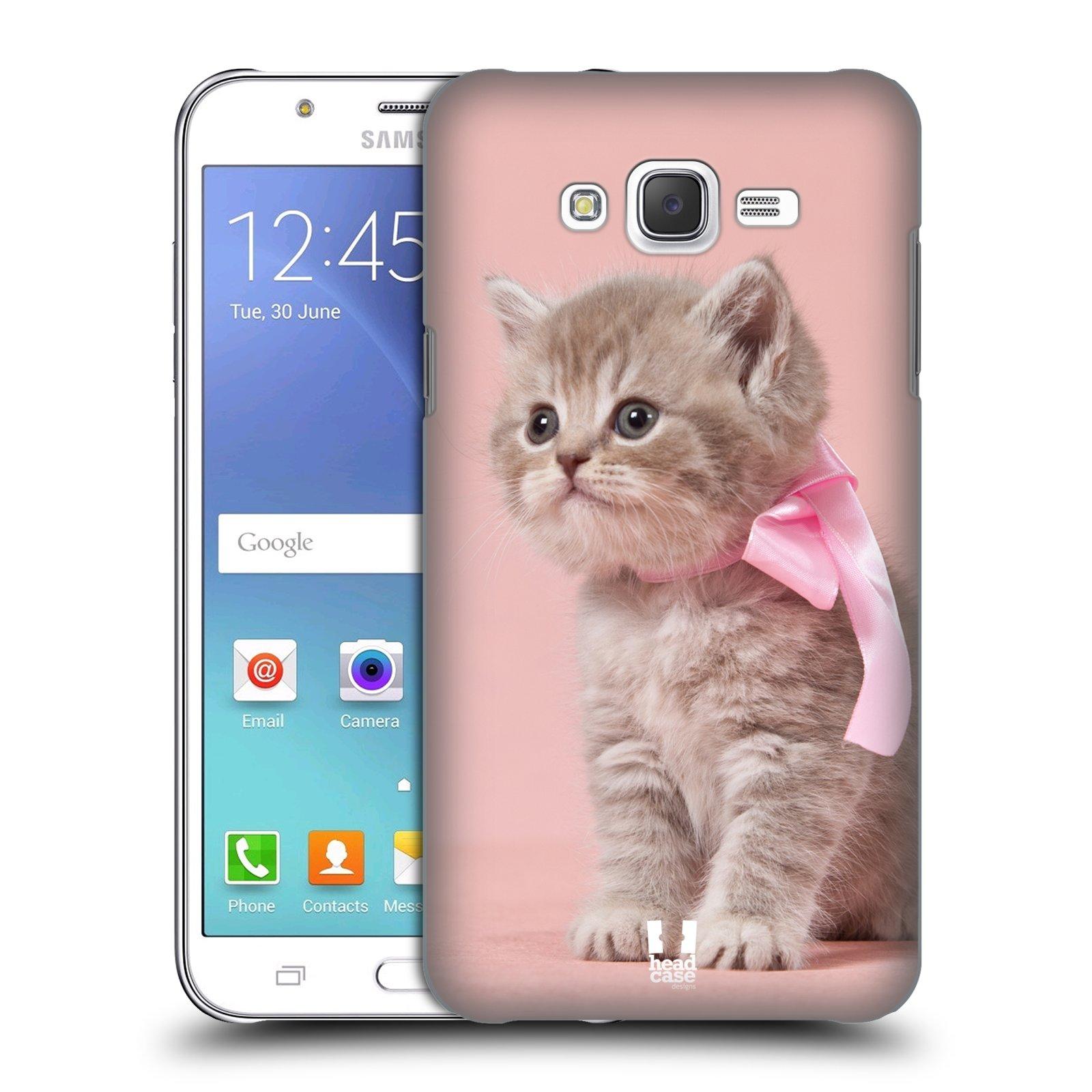 HEAD CASE plastový obal na mobil SAMSUNG Galaxy J7, J700 vzor Kočičky koťata foto kotě s růžovou mašlí