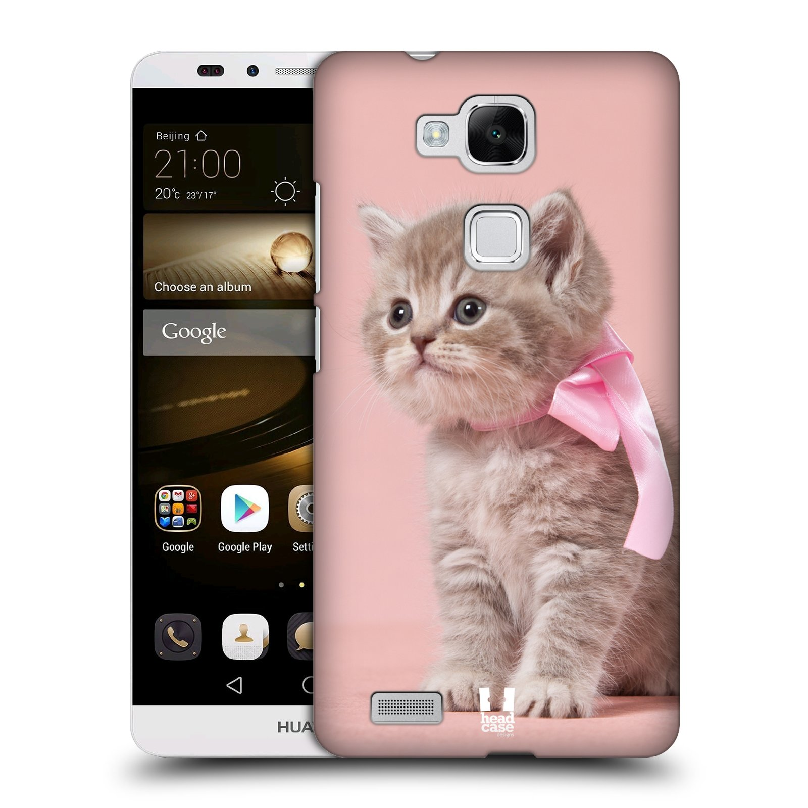 HEAD CASE plastový obal na mobil Huawei Mate 7 vzor Kočičky koťata foto kotě s růžovou mašlí
