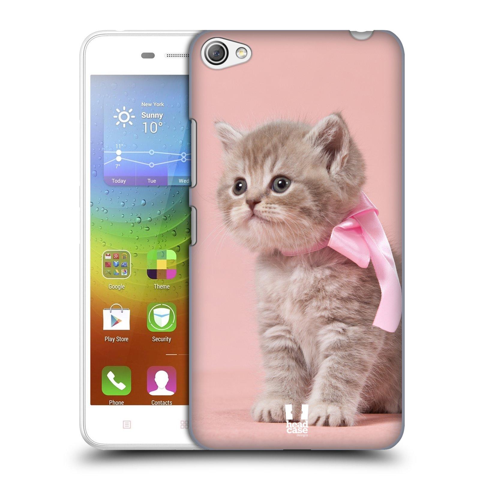 HEAD CASE pevný plastový obal na mobil LENOVO S60 / LENOVO S60 DUAL SIM vzor Kočičky koťata foto kotě s růžovou mašlí
