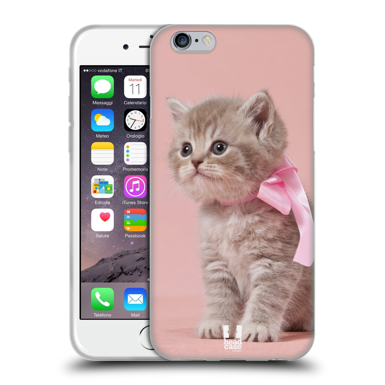 HEAD CASE silikonový obal na mobil Apple Iphone 6/6S vzor Kočičky koťata foto kotě s růžovou mašlí