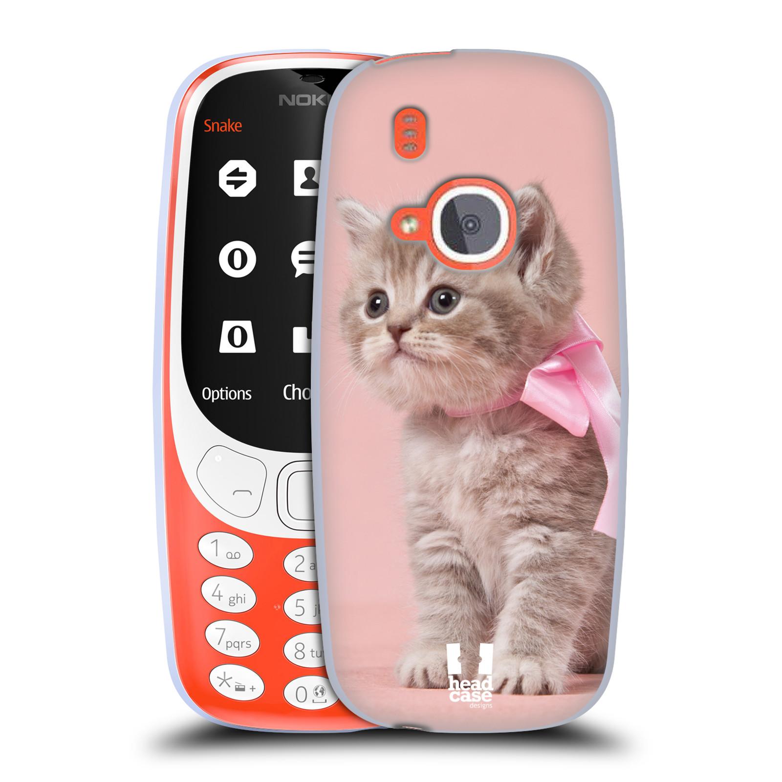 HEAD CASE silikonový obal na mobil NOKIA 3310 (2017) vzor Kočičky koťata foto kotě s růžovou mašlí
