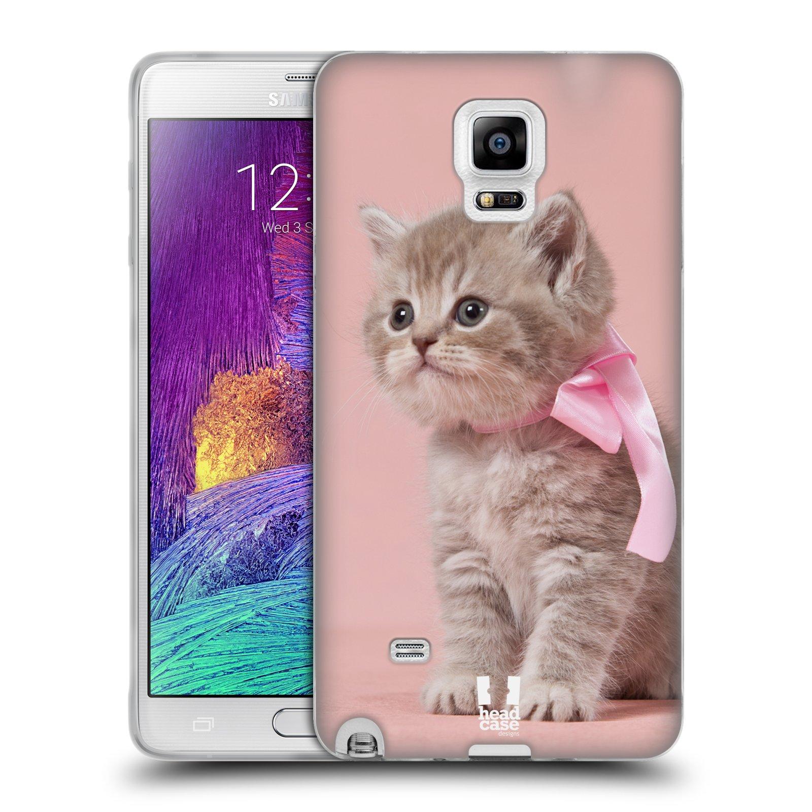 HEAD CASE silikonový obal na mobil Samsung Galaxy Note 4 (N910) vzor Kočičky koťata foto kotě s růžovou mašlí