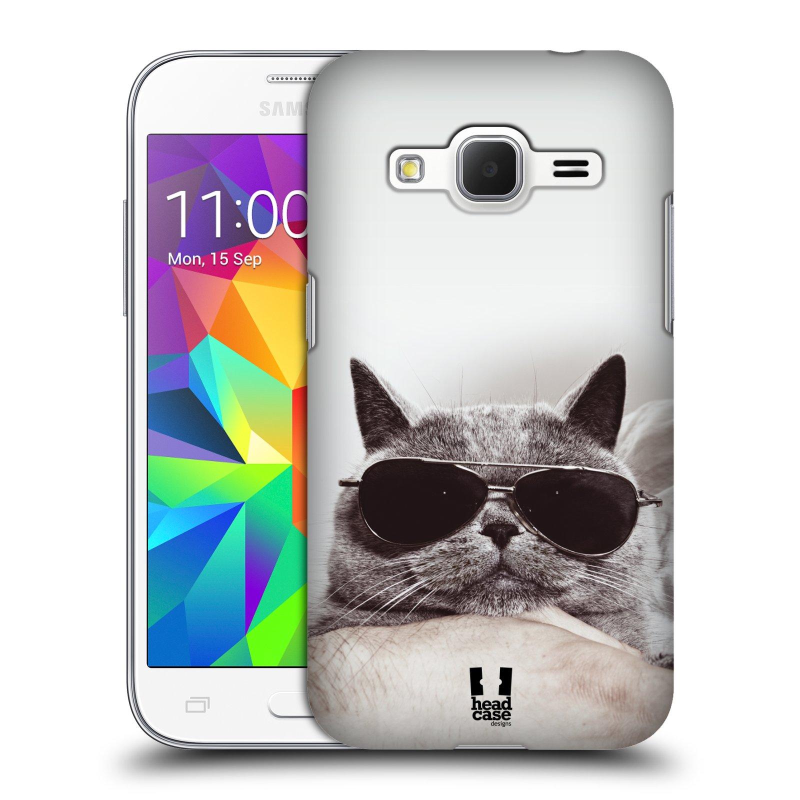 HEAD CASE plastový obal na mobil SAMSUNG GALAXY Core Prime (Core Prime VE) vzor Kočičky koťata foto Britská kočka v brýlích