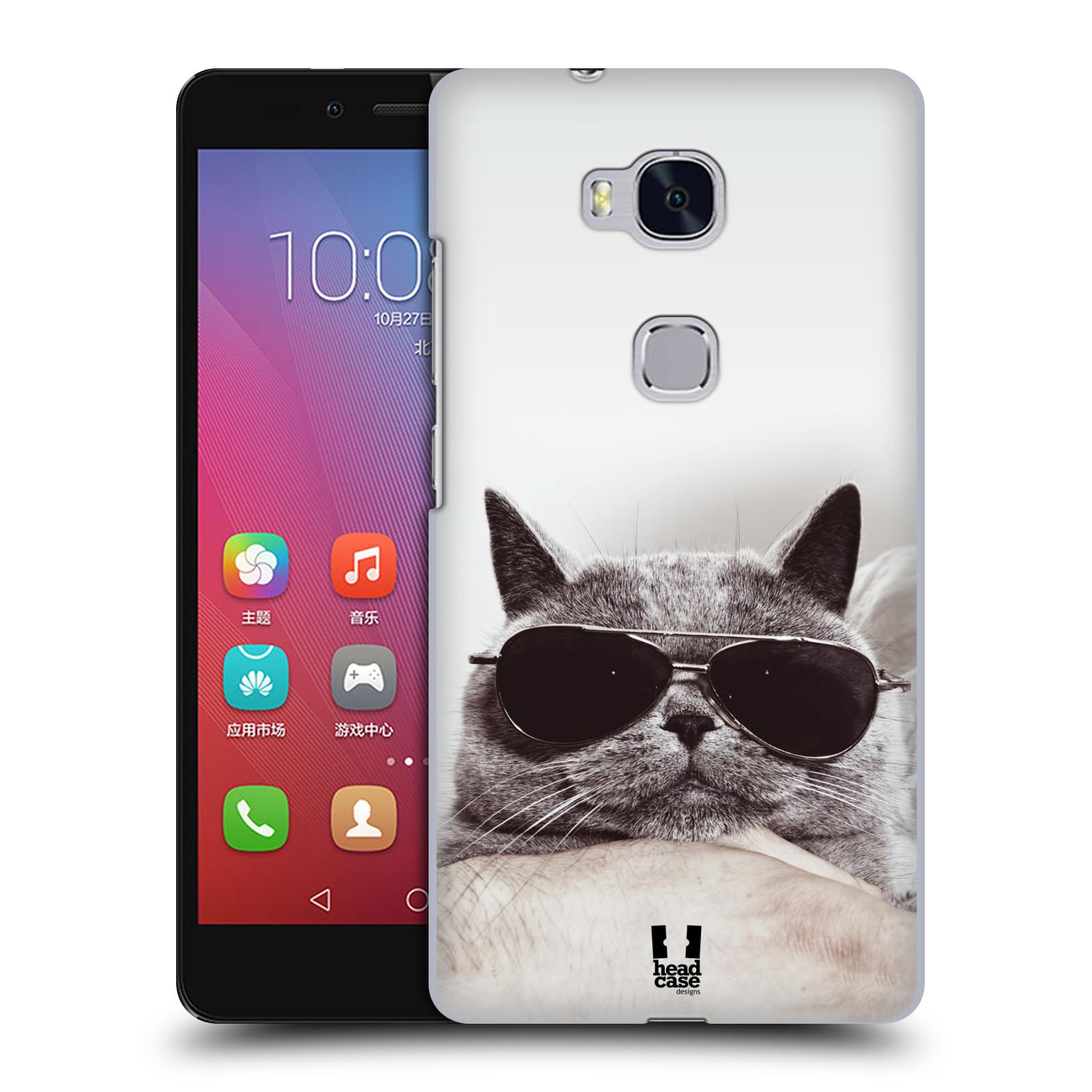 HEAD CASE pevný plastový obal na mobil HUAWEI HONOR 5X vzor Kočičky koťata foto Britská kočka v brýlích