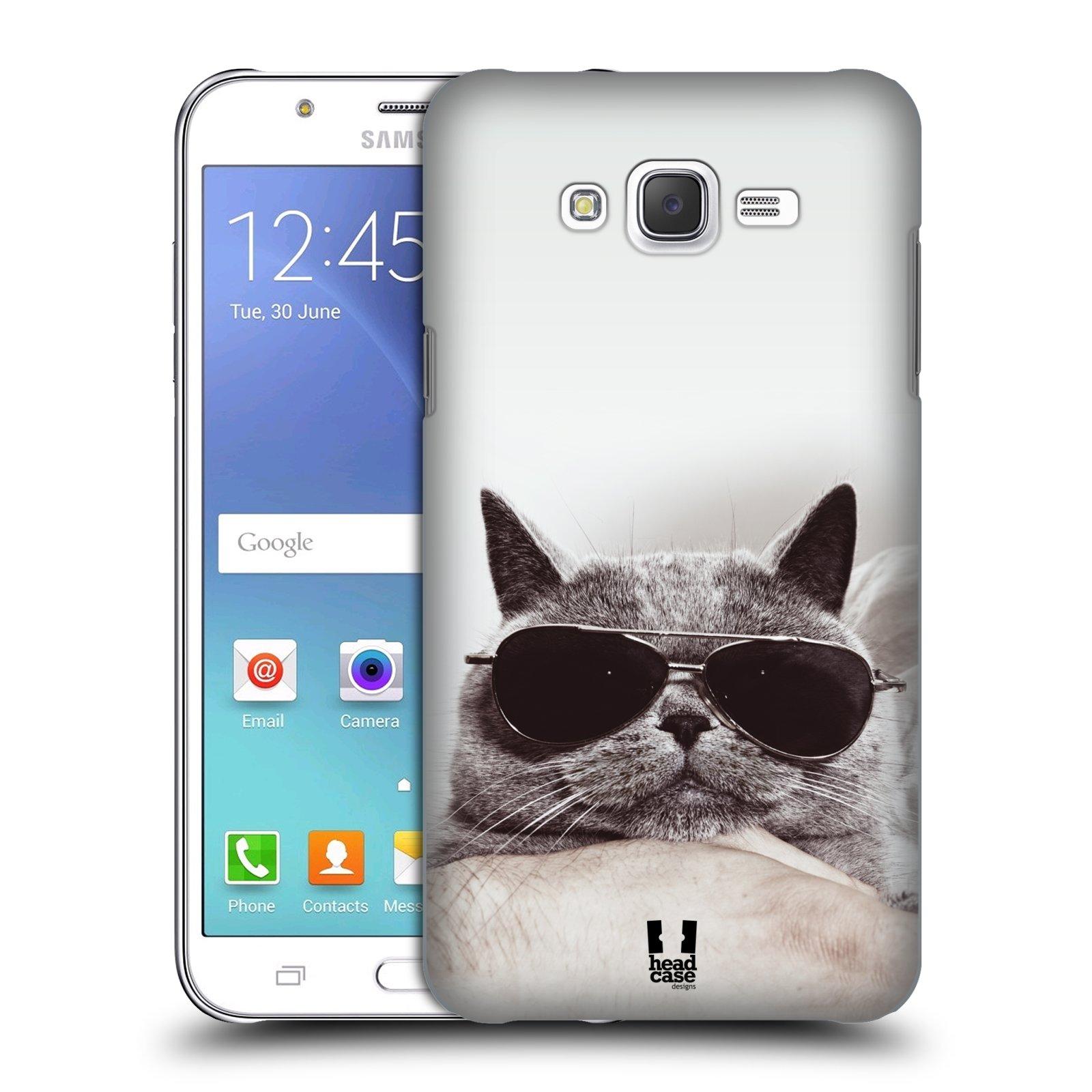 HEAD CASE plastový obal na mobil SAMSUNG Galaxy J7, J700 vzor Kočičky koťata foto Britská kočka v brýlích