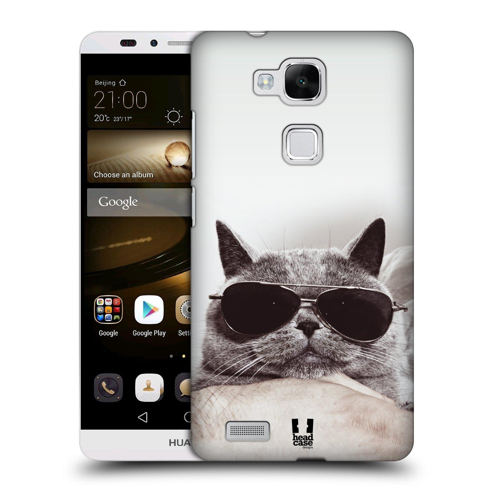 HEAD CASE plastový obal na mobil Huawei Mate 7 vzor Kočičky koťata foto Britská kočka v brýlích