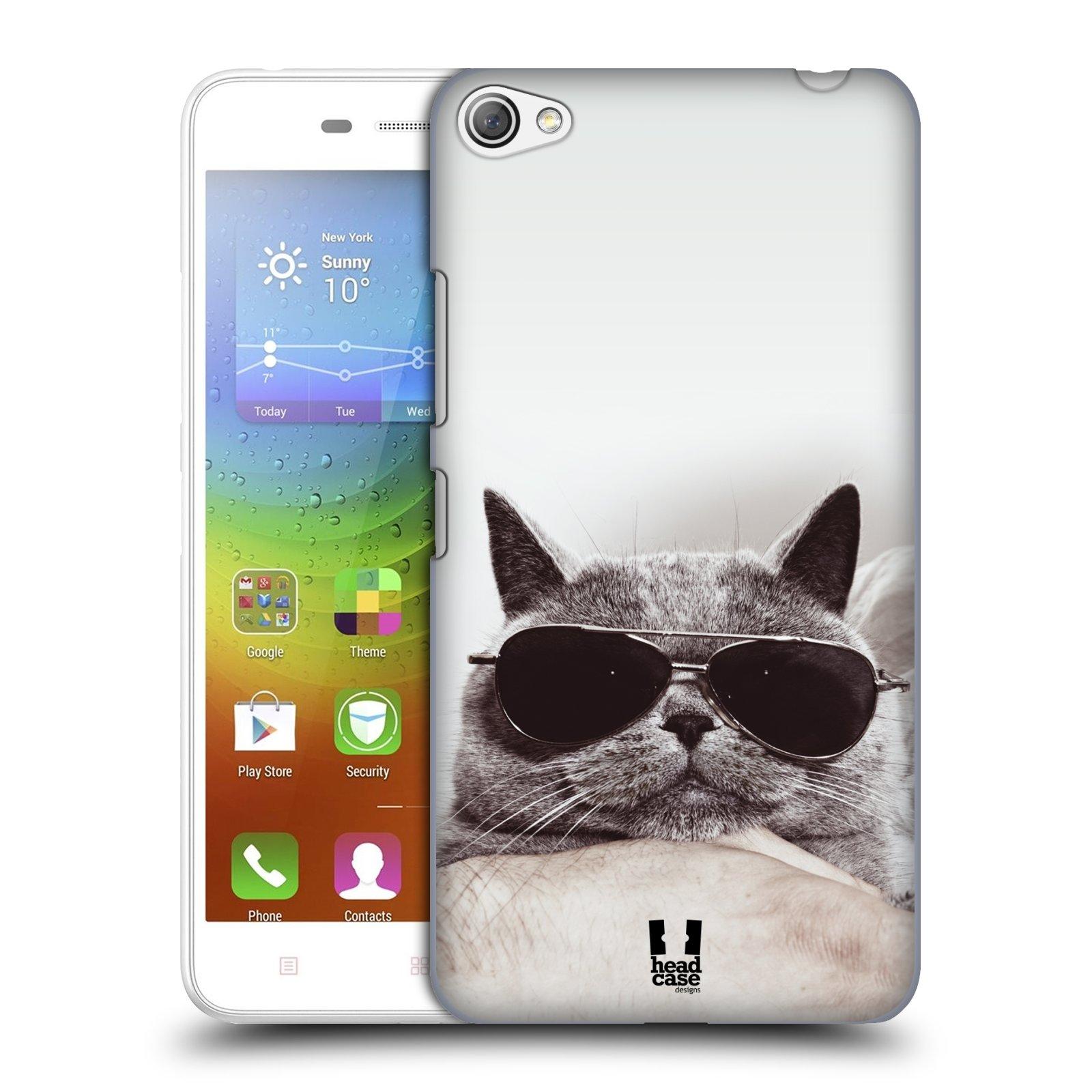 HEAD CASE pevný plastový obal na mobil LENOVO S60 / LENOVO S60 DUAL SIM vzor Kočičky koťata foto Britská kočka v brýlích