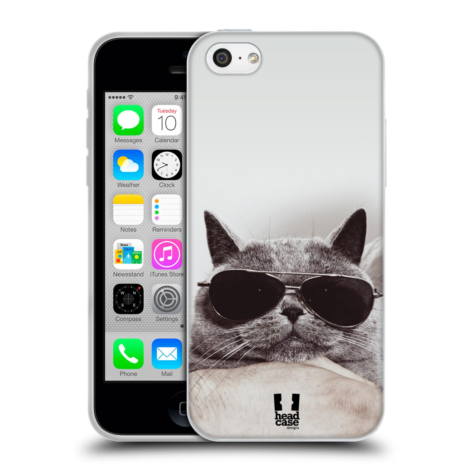 HEAD CASE silikonový obal na mobil Apple Iphone 5C vzor Kočičky koťata foto Britská kočka v brýlích