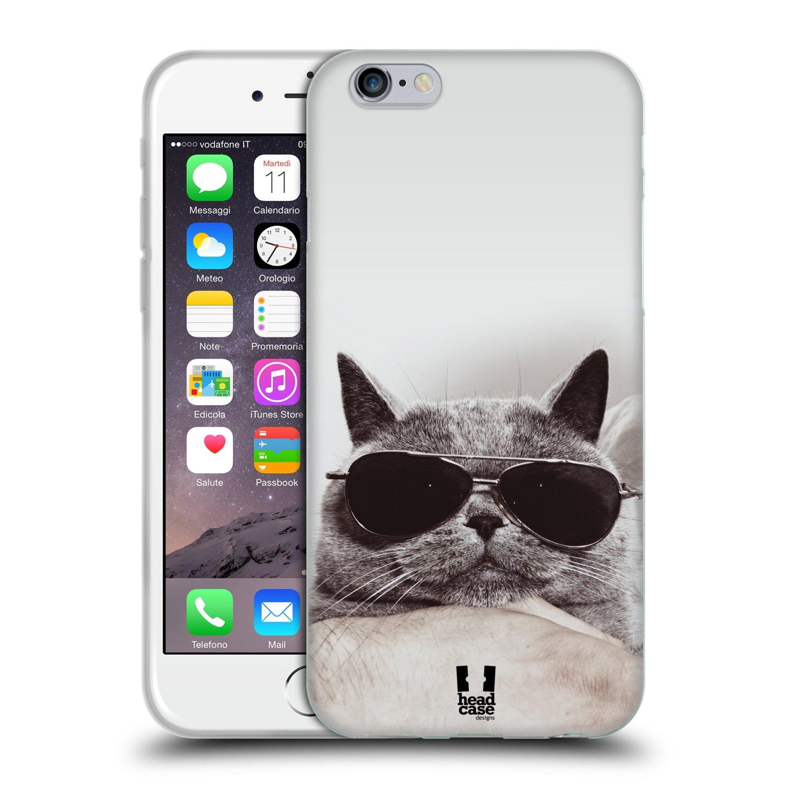 HEAD CASE silikonový obal na mobil Apple Iphone 6/6S vzor Kočičky koťata foto Britská kočka v brýlích