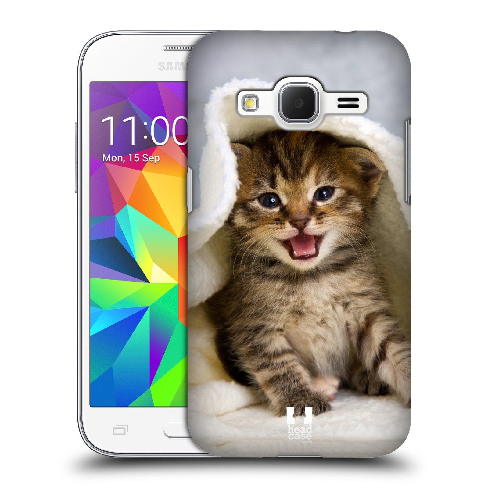 HEAD CASE plastový obal na mobil SAMSUNG GALAXY Core Prime (Core Prime VE) vzor Kočičky koťata foto kotě v ručníku